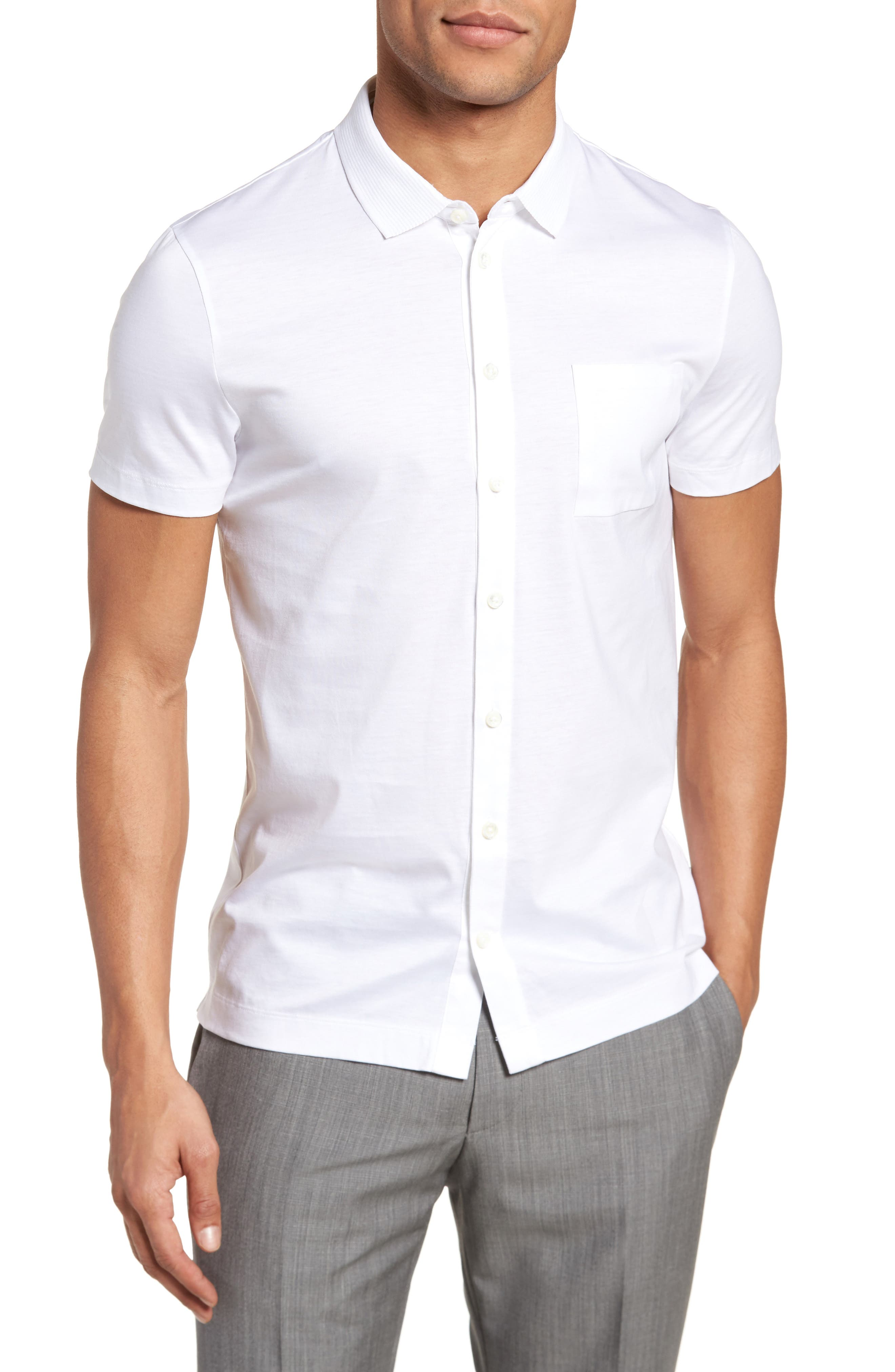 Puno Slim Fit Short Sleeve Sport Shirt,                         Main,                         color, White
