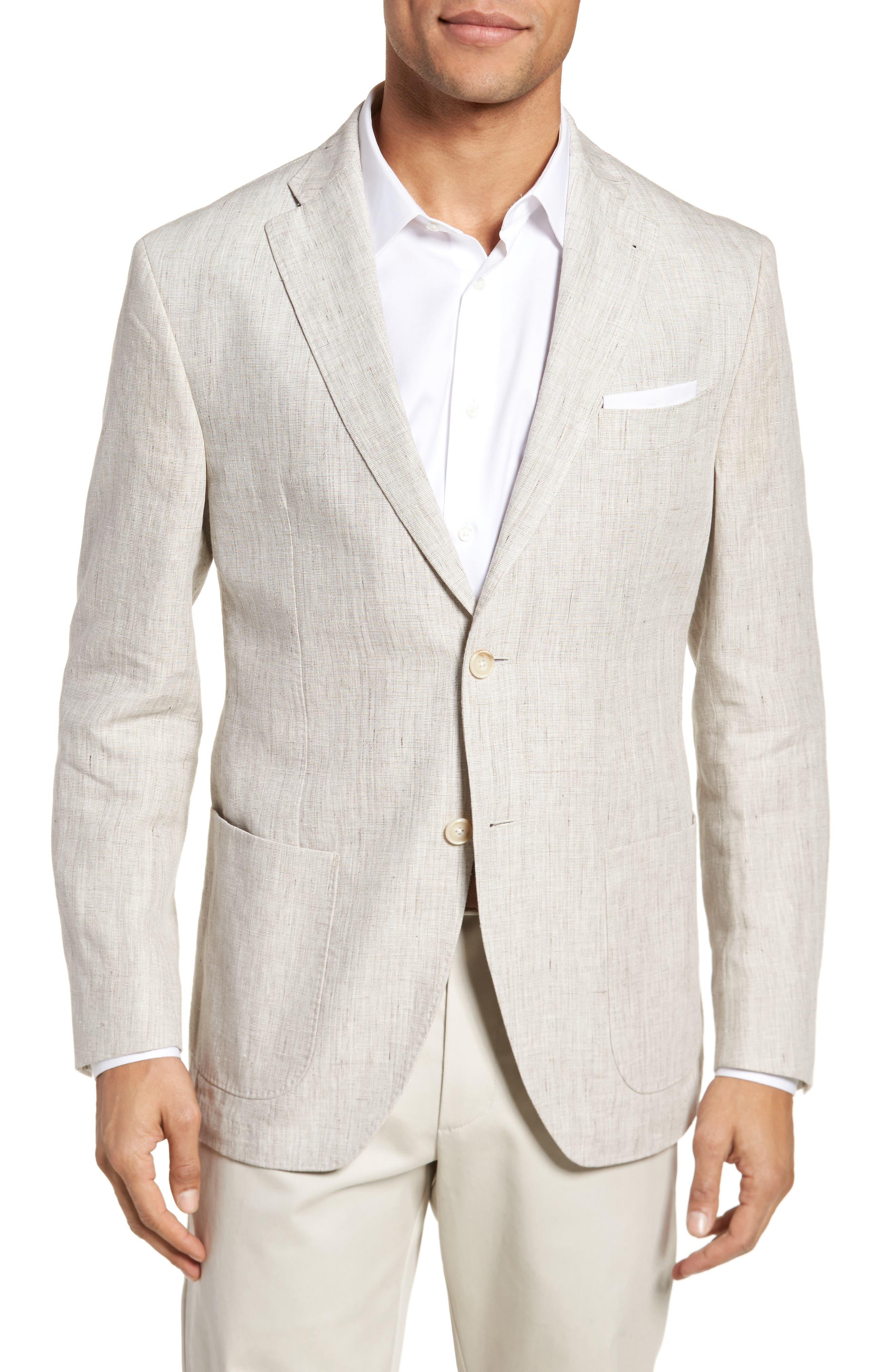 Trent Trim Fit Linen Blazer,                         Main,                         color, Natural