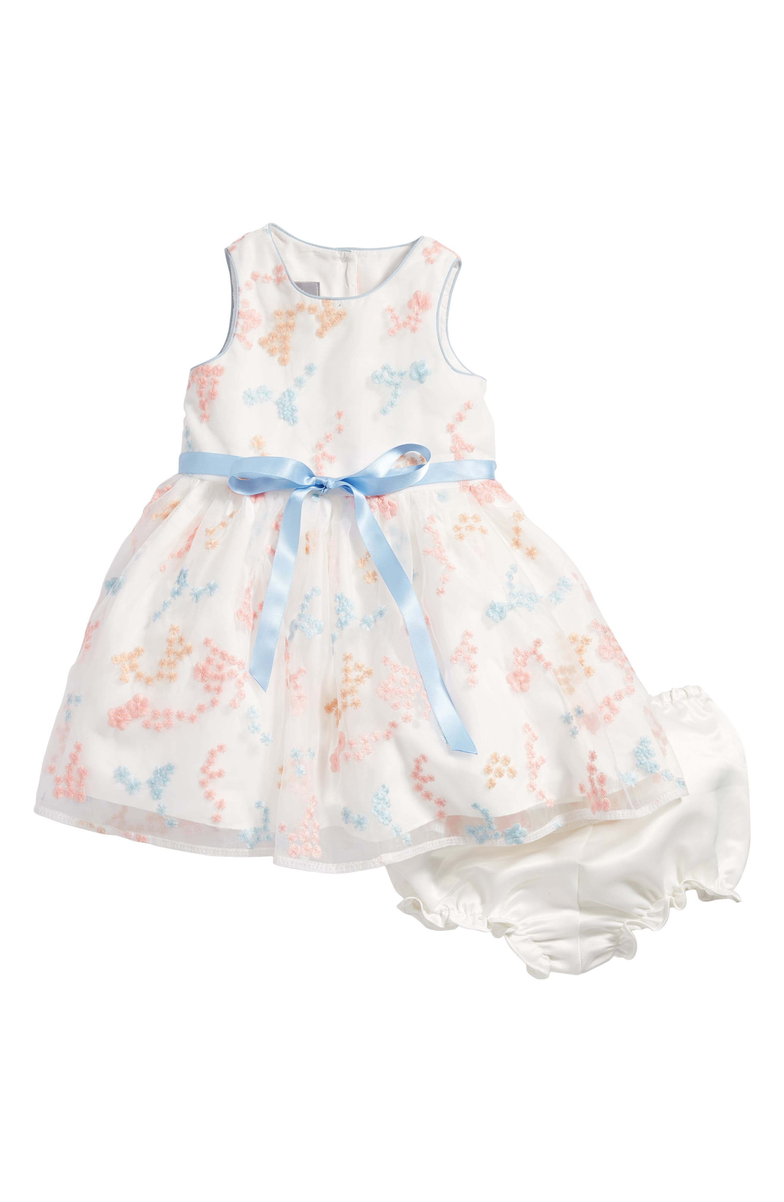 Embroidered Flower Dress,                             Main thumbnail 1, color,                             Ivory Multi