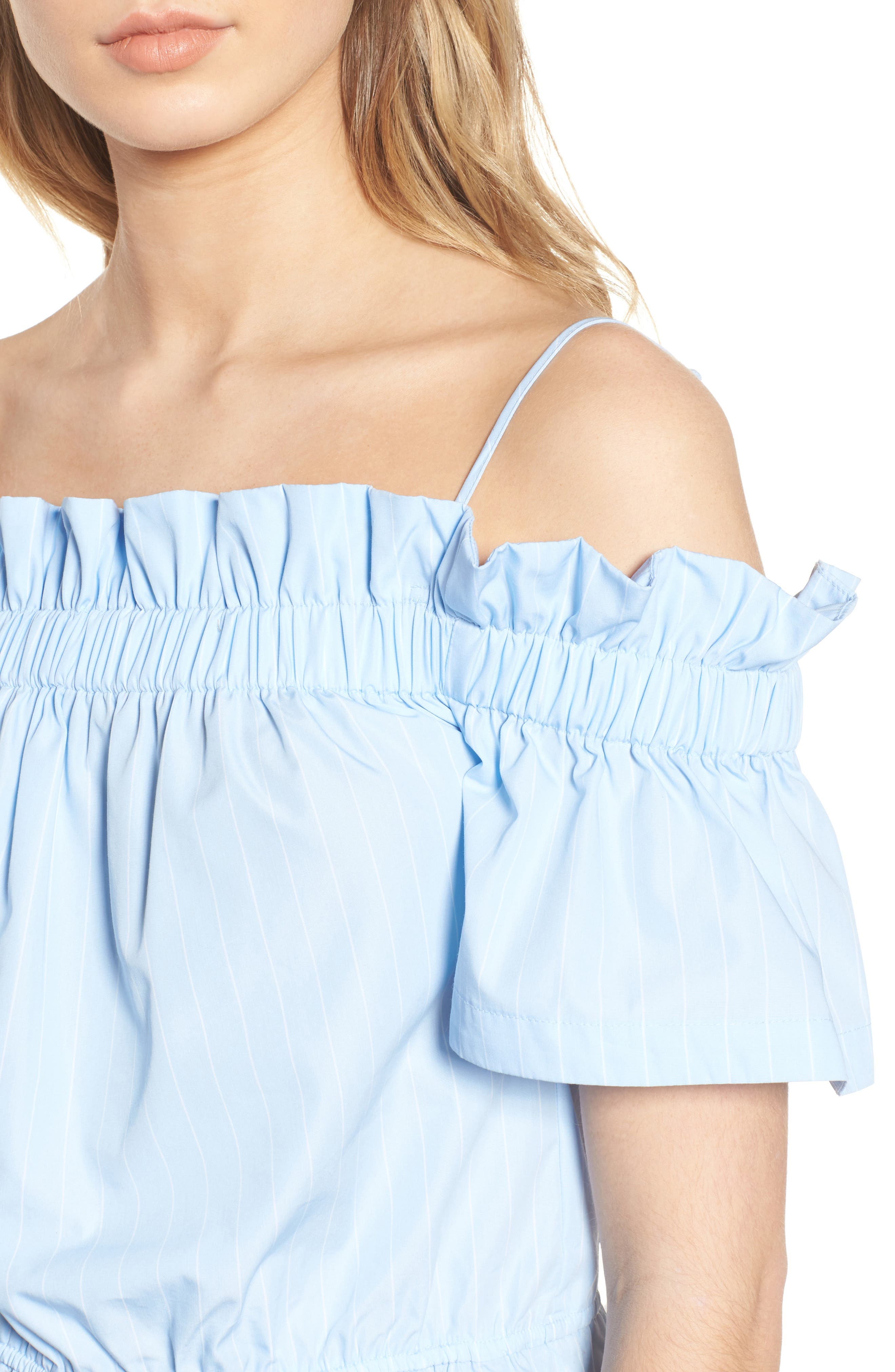 Cold Shoulder Ruffle Trim Top,                             Alternate thumbnail 4, color,                             Blue Drift Rhea Stripe