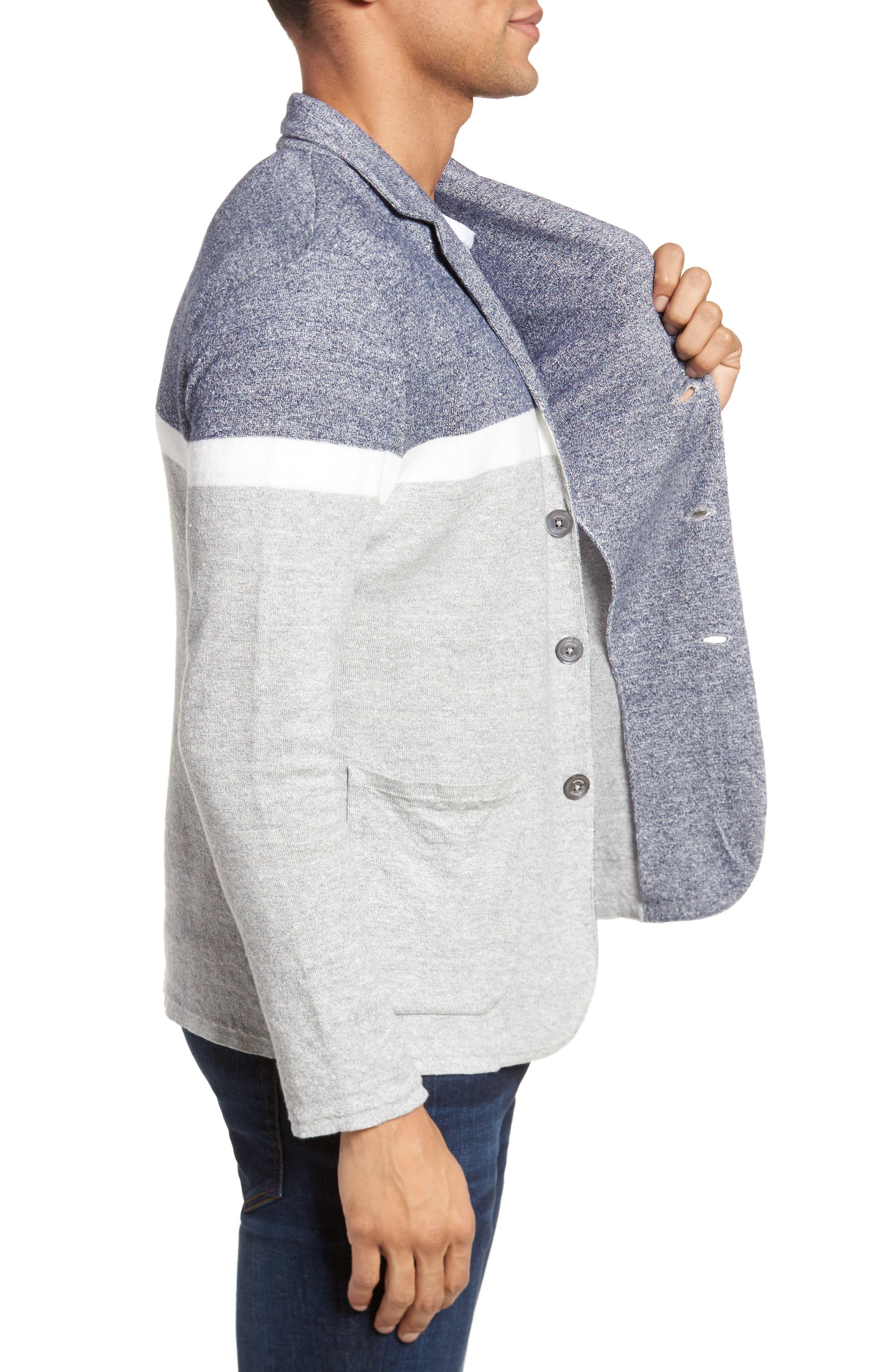 Colorblock Sweater Jacket,                             Alternate thumbnail 3, color,                             Grey