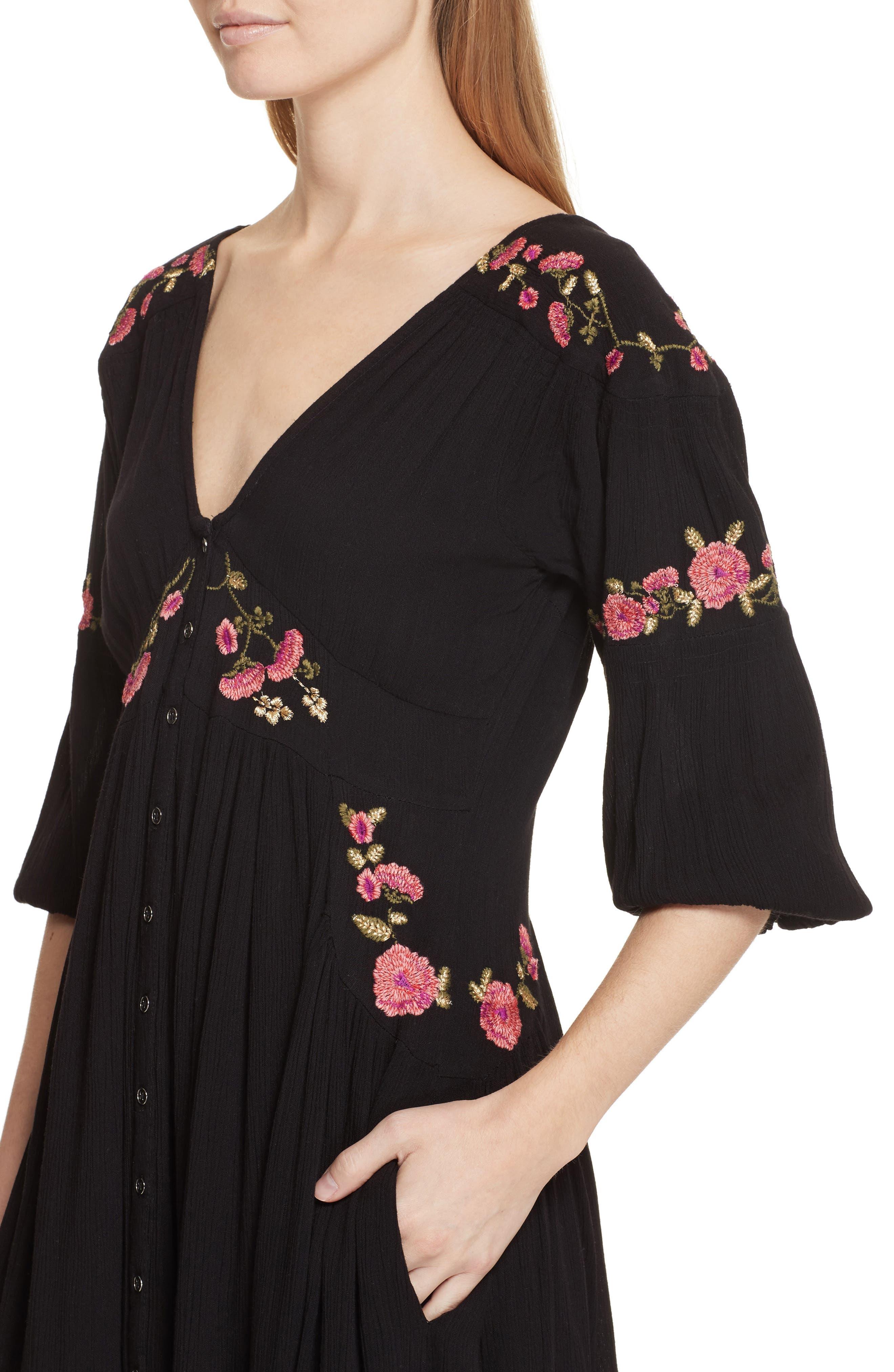 Day Glow Midi Dress,                             Alternate thumbnail 4, color,                             Black Combo