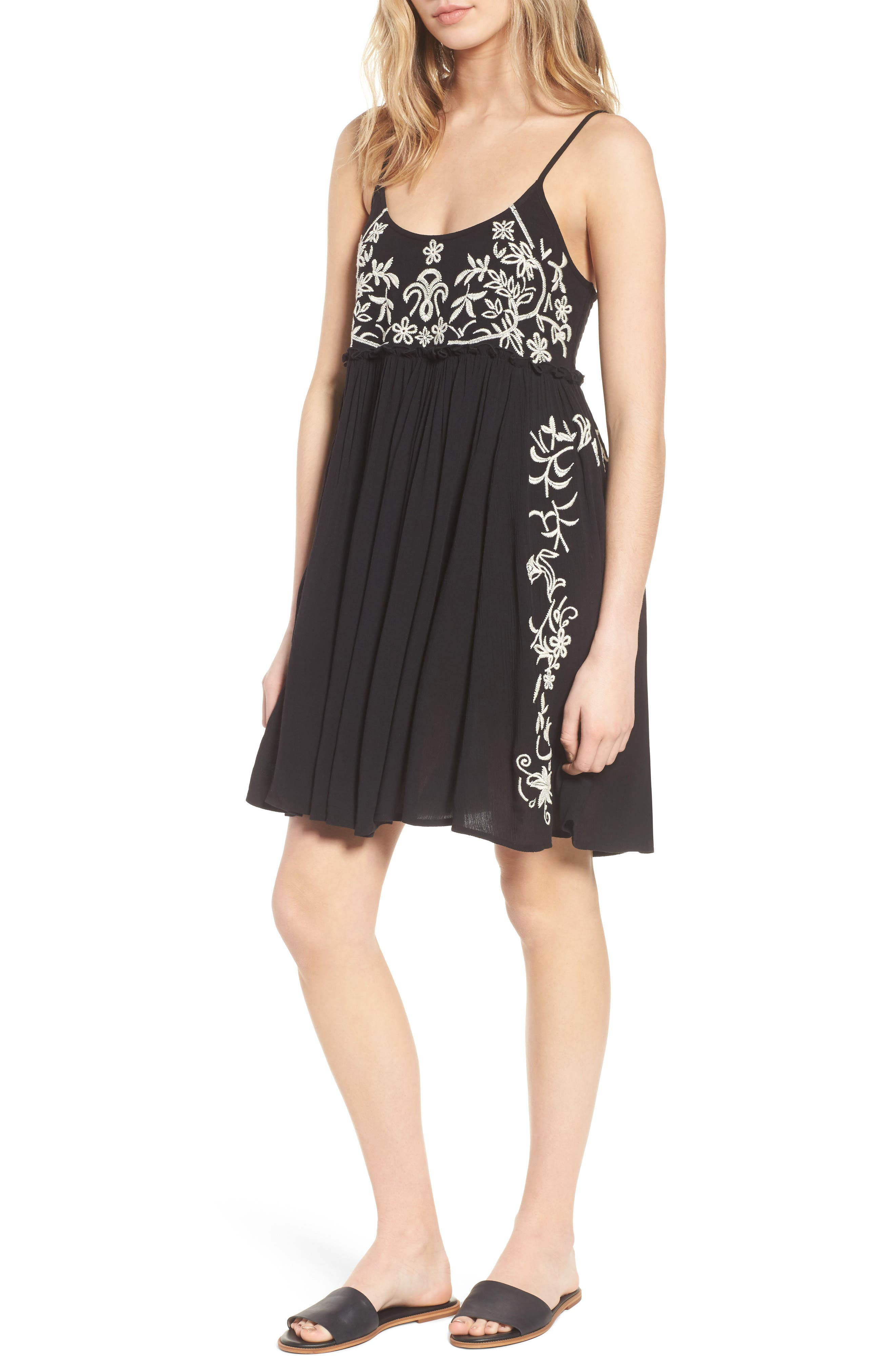 Embroidered Babydoll Dress,                         Main,                         color, Black/ Ivory