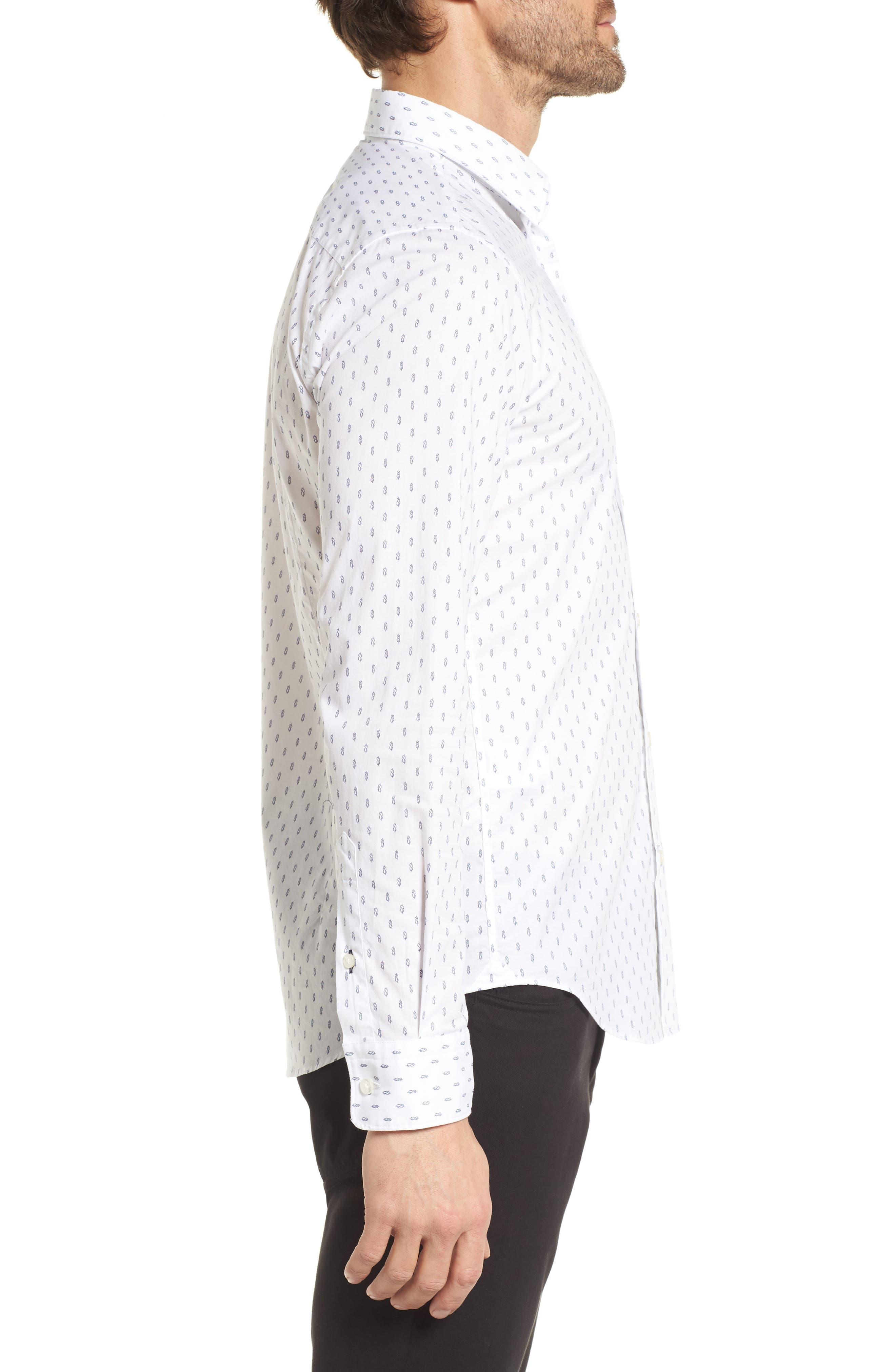 Ronni Slim Fit Print Sport Shirt,                             Alternate thumbnail 4, color,                             White