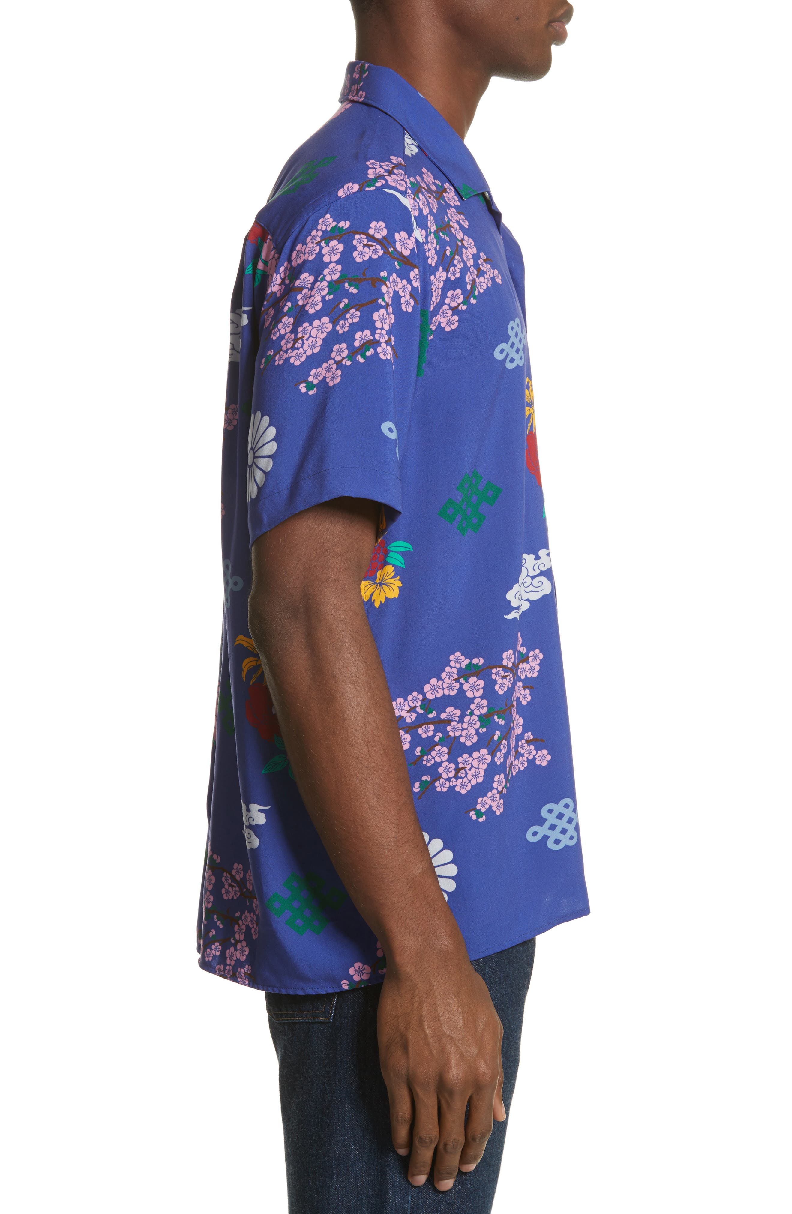 x The North Face Men's Floral Print Camp Shirt,                             Alternate thumbnail 4, color,                             Blue Ground