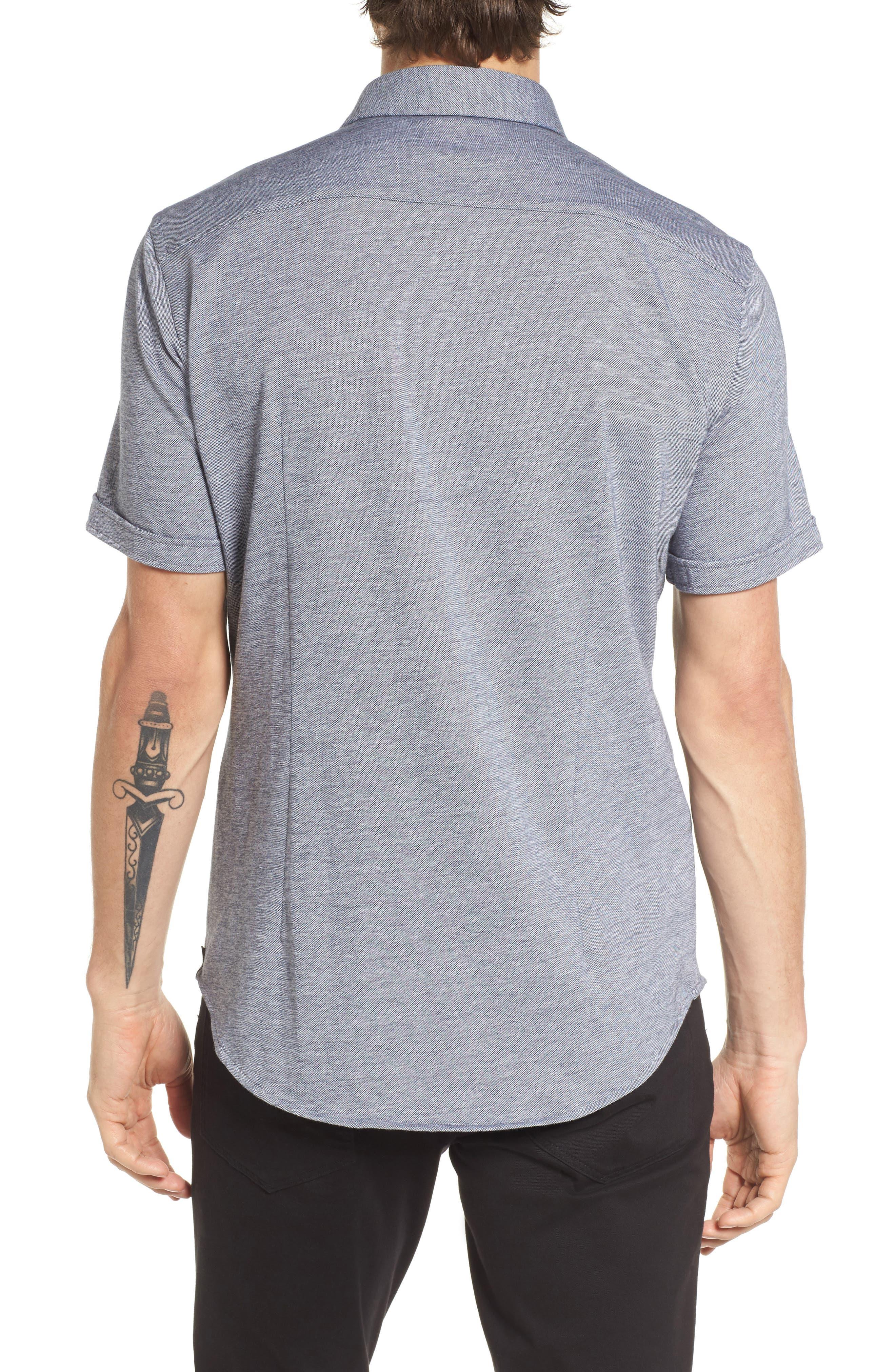 Robb Slim Fit Short Sleeve Sport Shirt,                             Alternate thumbnail 2, color,                             Light Blue