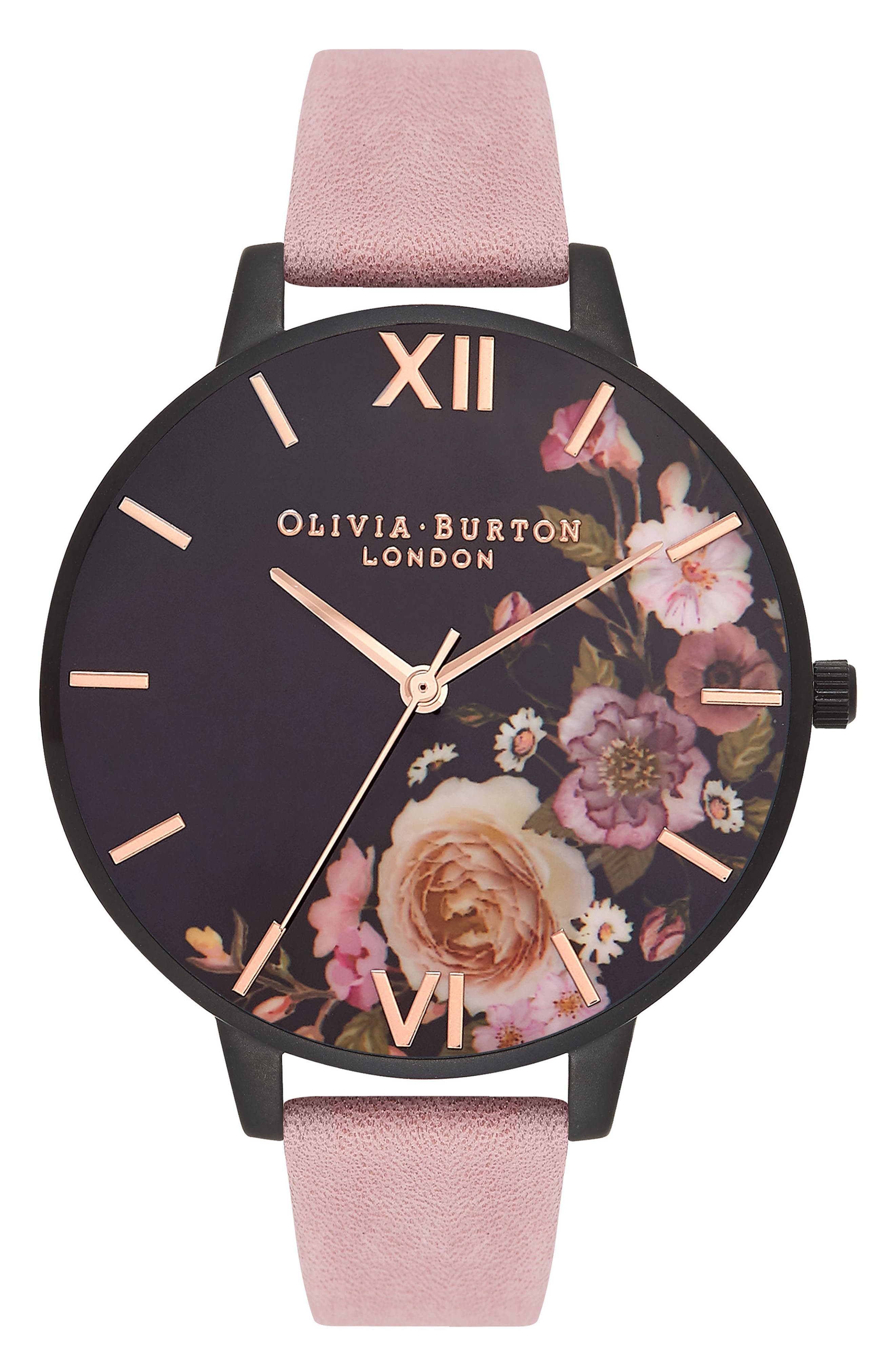 After Dark Leather Strap Watch, 38mm,                             Main thumbnail 1, color,                             Rose/ Black Floral/ Black
