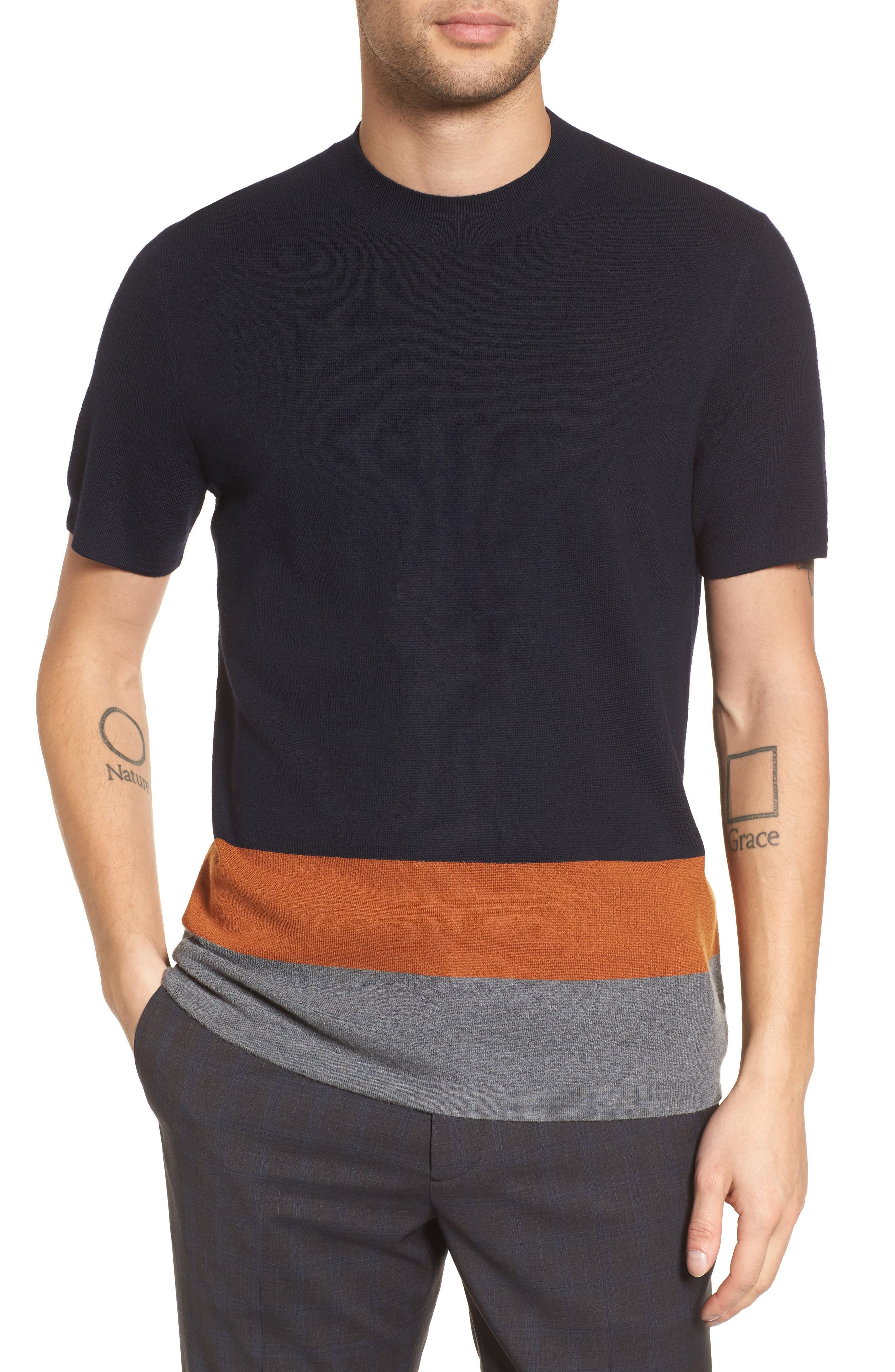 Theory Cyar CB New Sovereign Colorblocked Wool Sweater