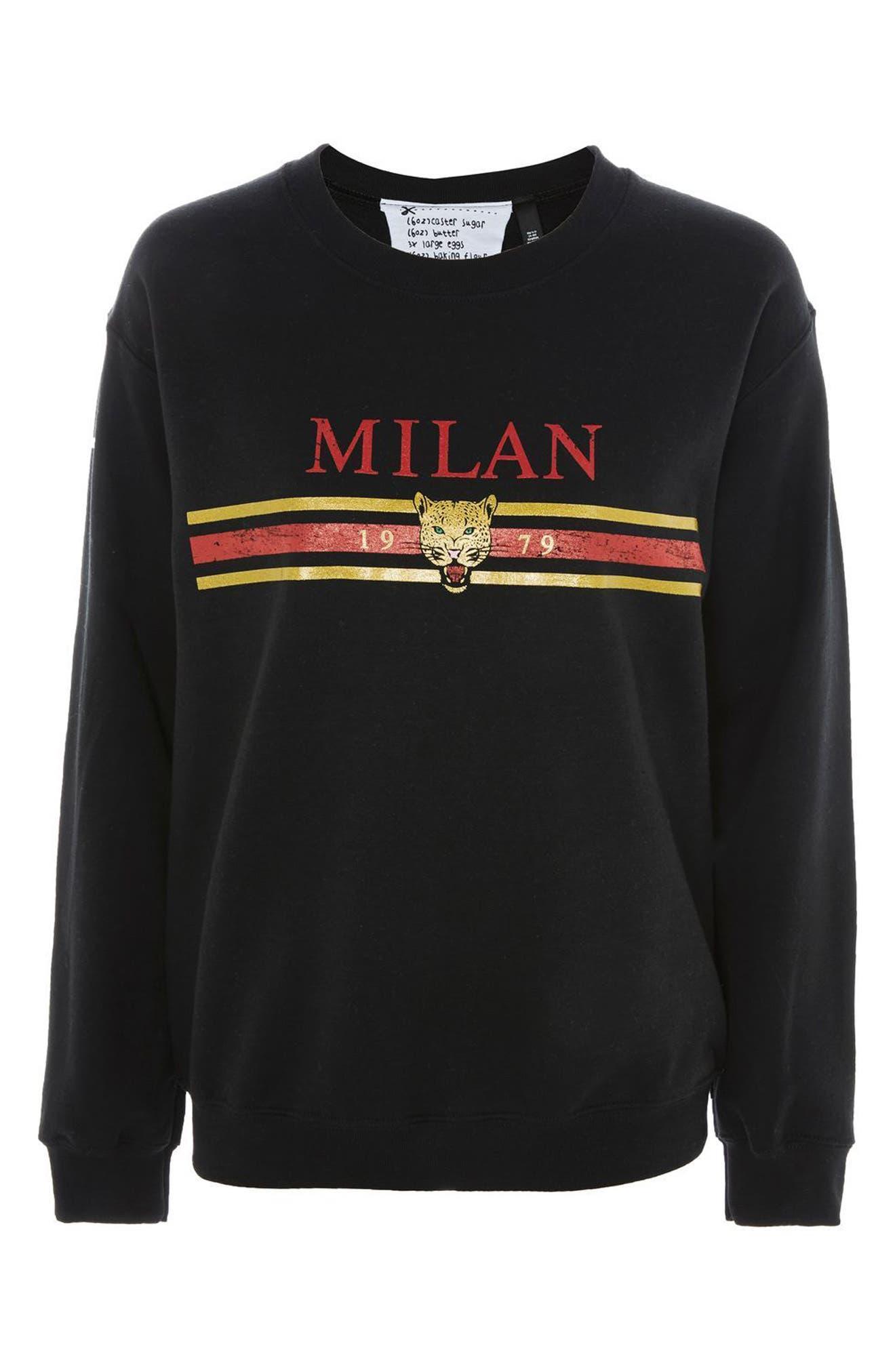 Milan Graphic Sweatshirt,                             Alternate thumbnail 4, color,                             Black Multi