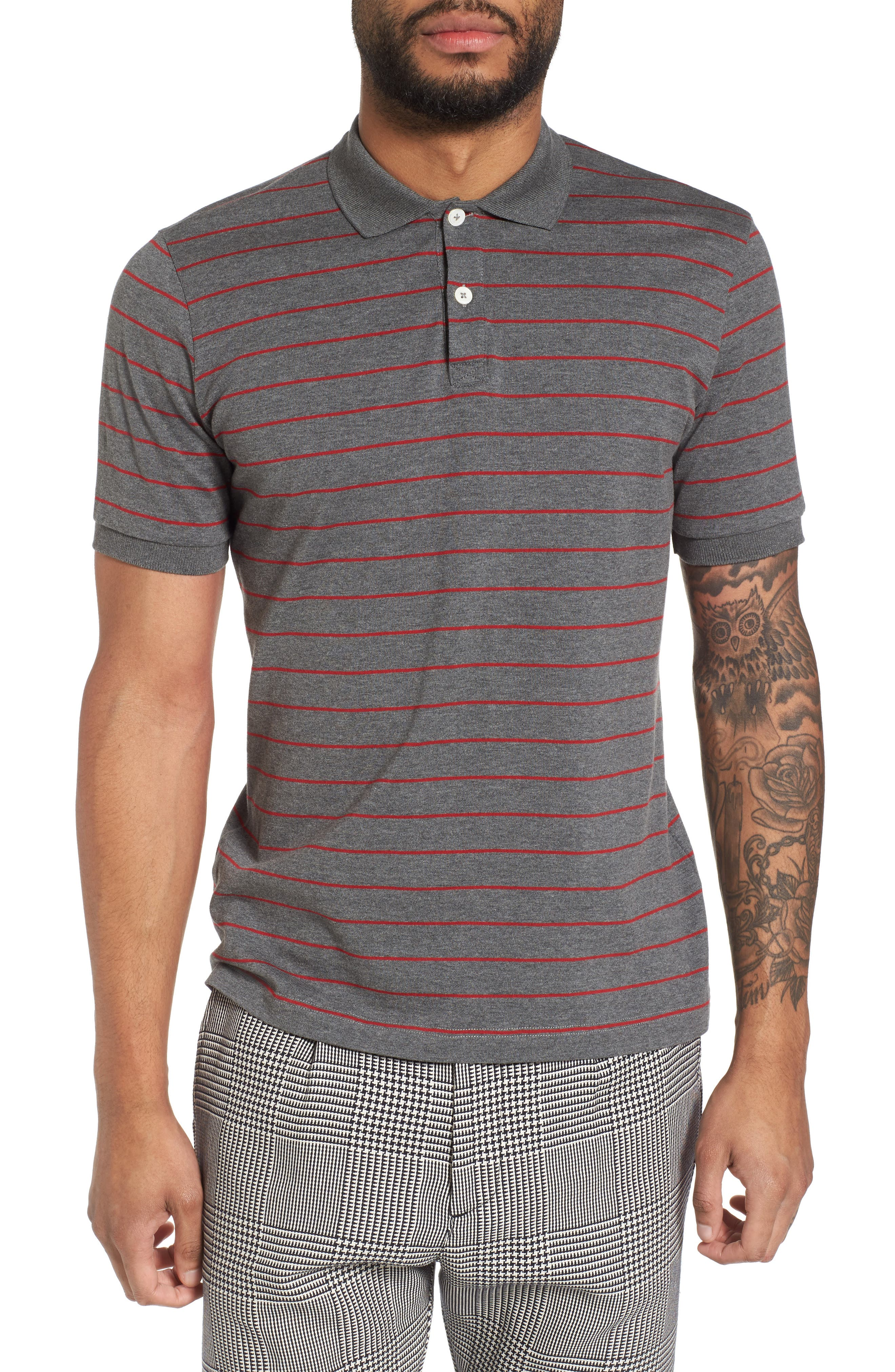 Stripe Polo,                             Main thumbnail 1, color,                             Grey/ Red