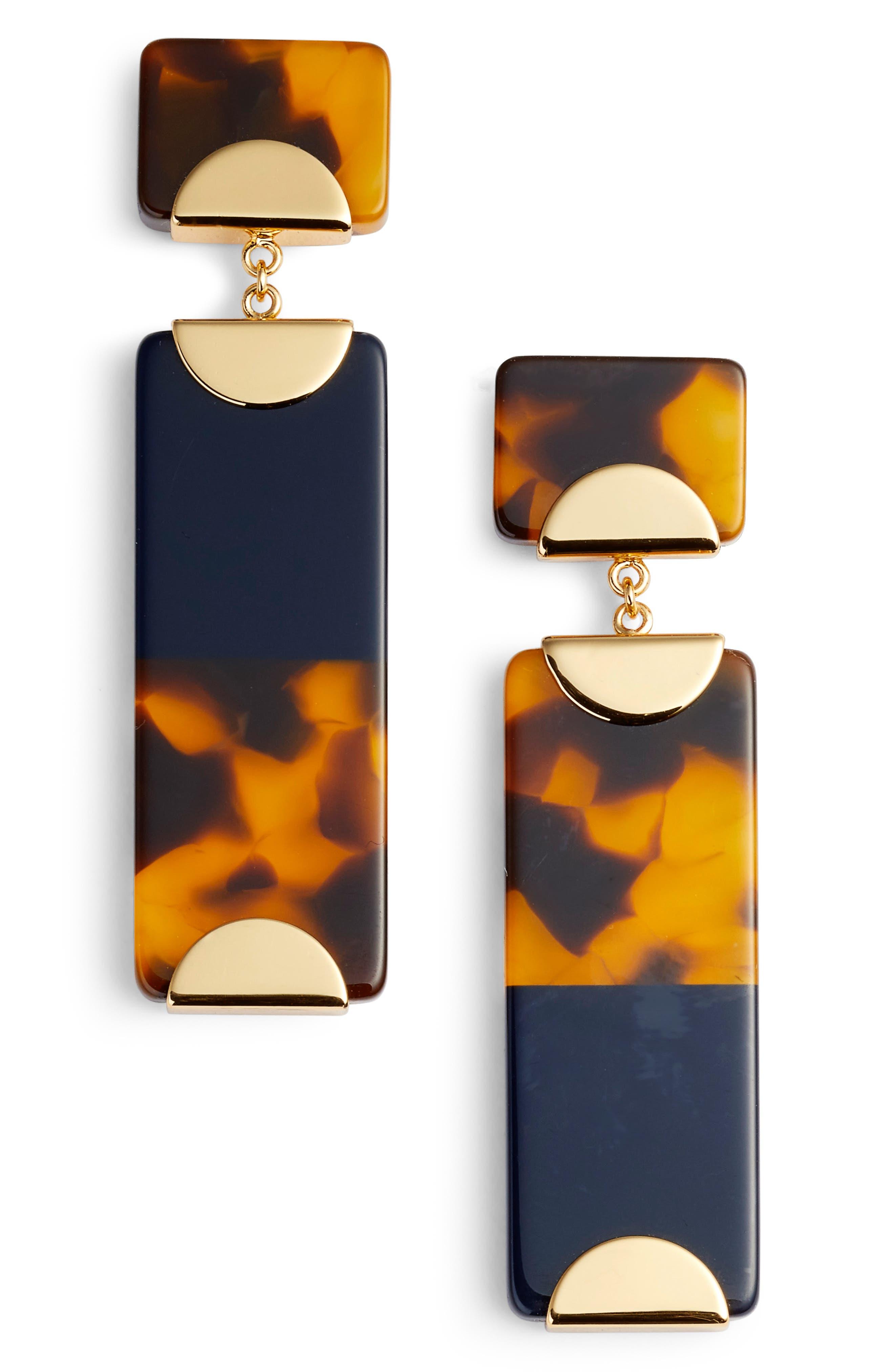 Resin Colorblock Drop Earrings,                         Main,                         color, Tory Navy/ Tortoise