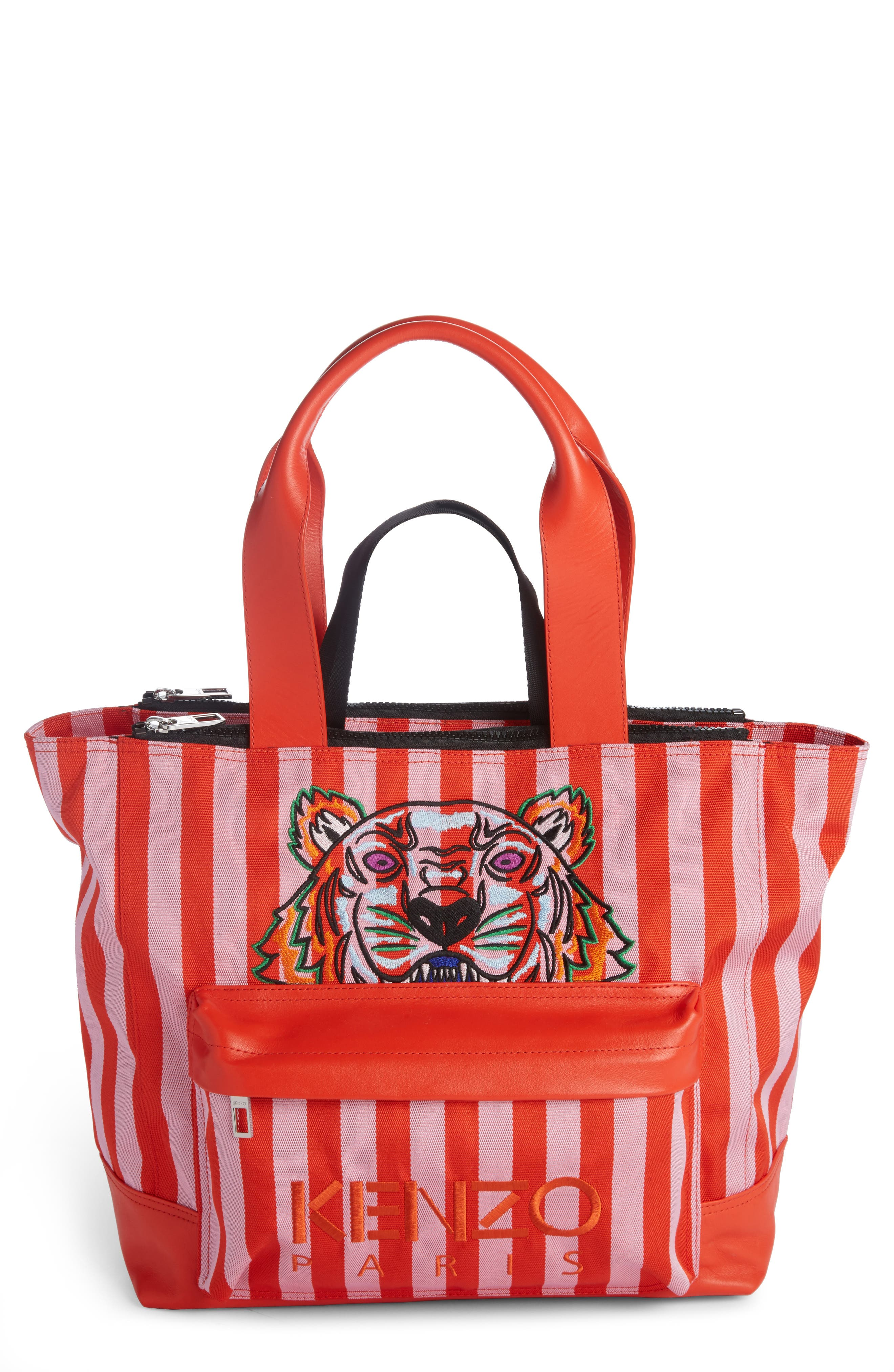 KENZO Large Kanvas Embroidered Tiger Stripe Tote