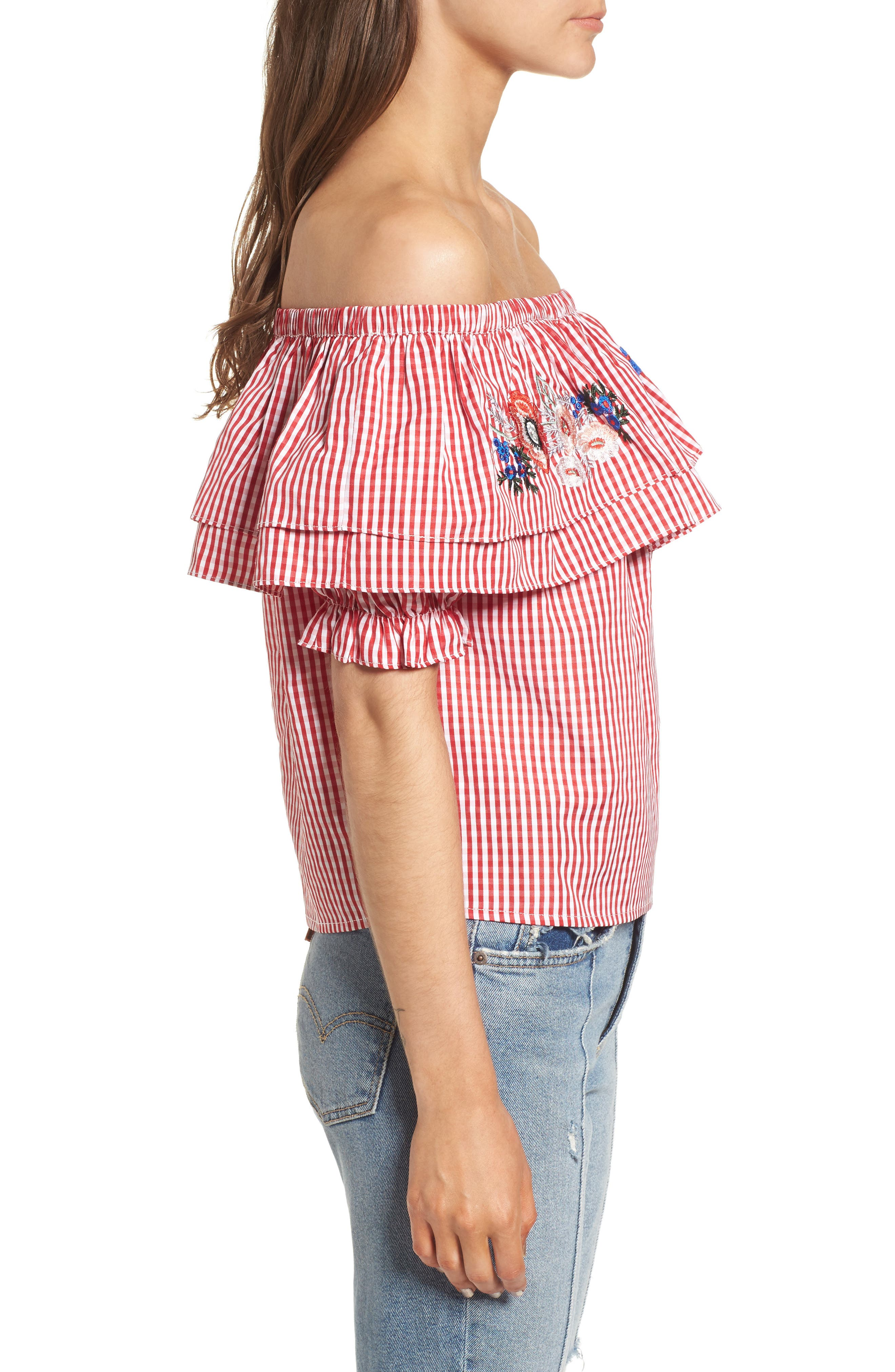 Embroidered Gingham Off the Shoulder Top,                             Alternate thumbnail 3, color,                             Red Gingham