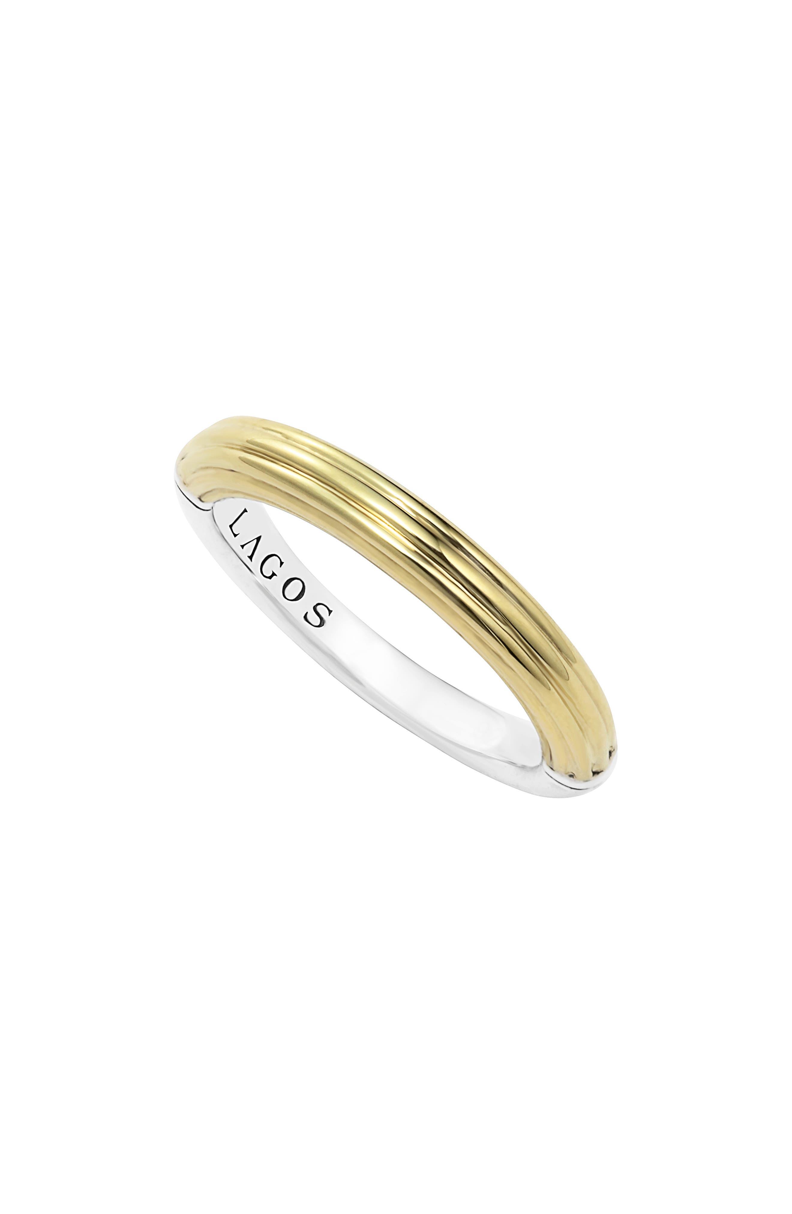 Ribbed Stacking Ring,                         Main,                         color, Gold