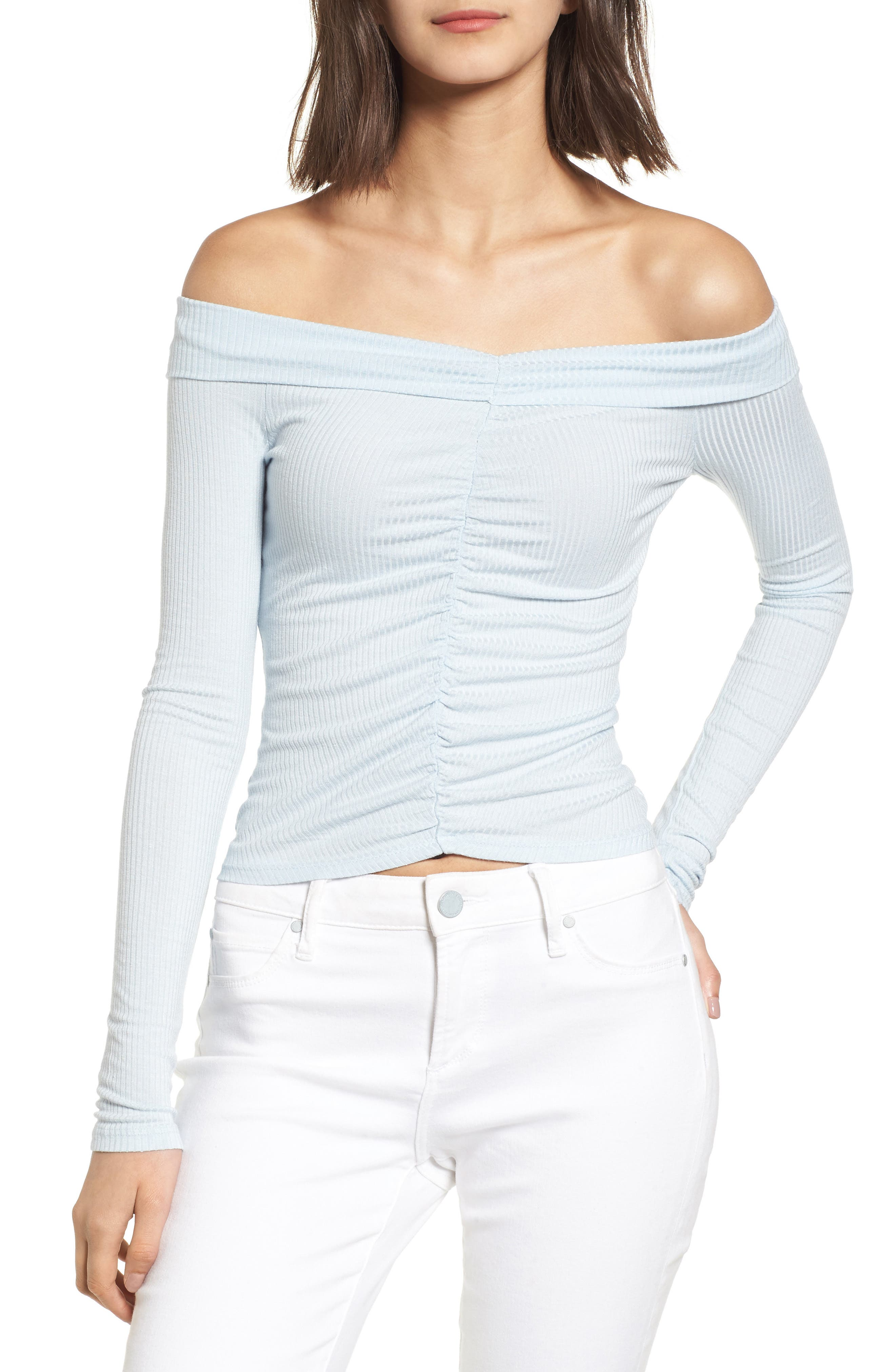 Cinched Off the Shoulder Top,                         Main,                         color, Blue Drift