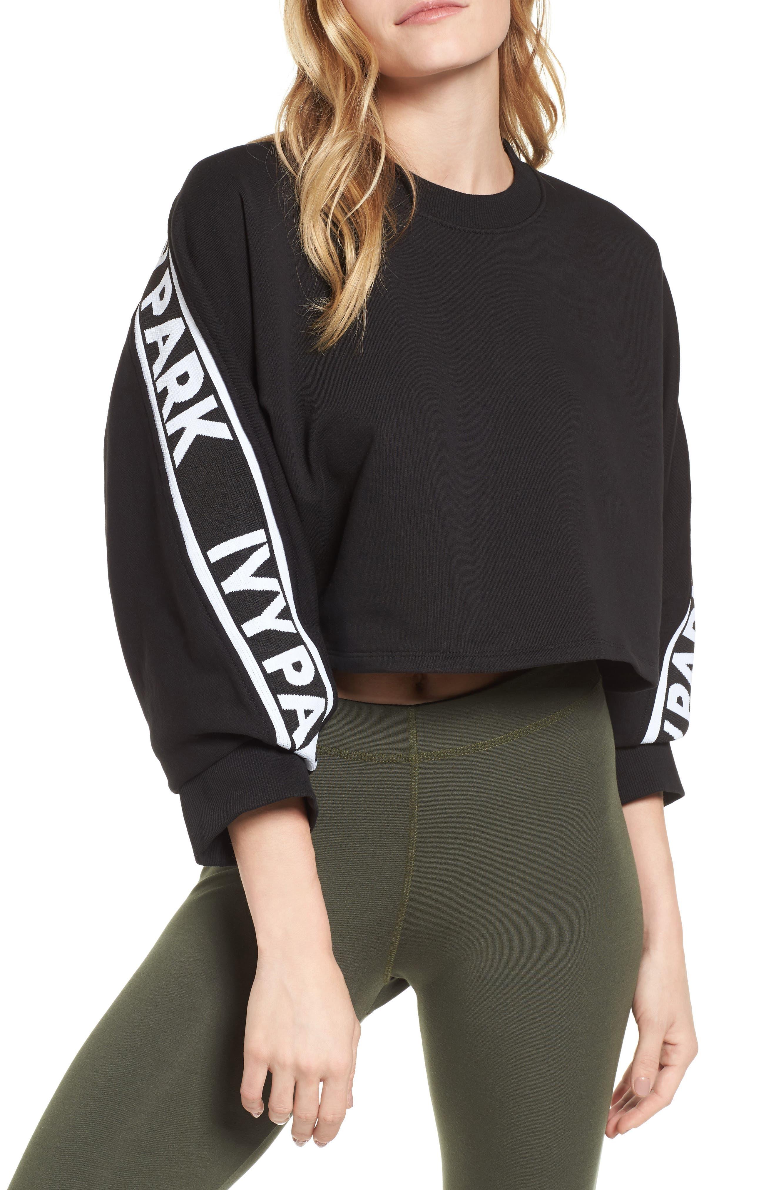 Logo Tape Crop Sweatshirt,                         Main,                         color, Black