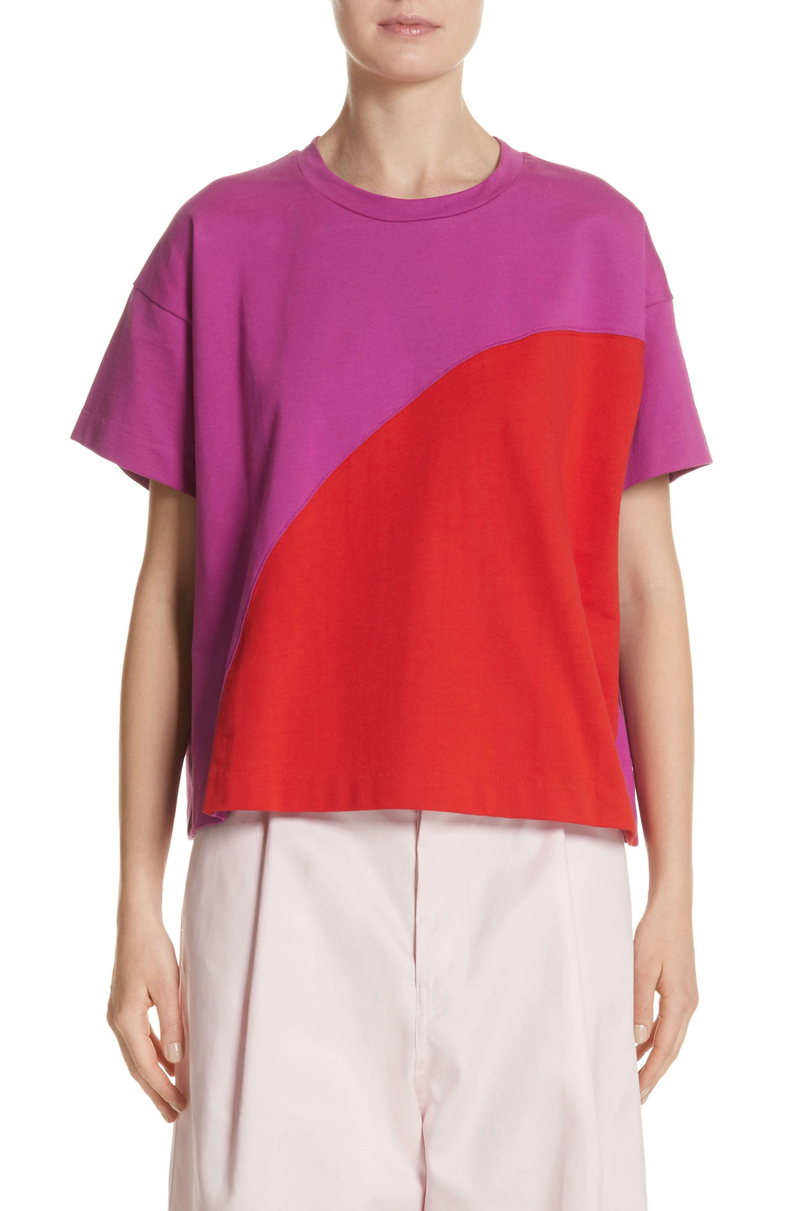 Colorblock Tee,                             Main thumbnail 1, color,                             1Red/Violet