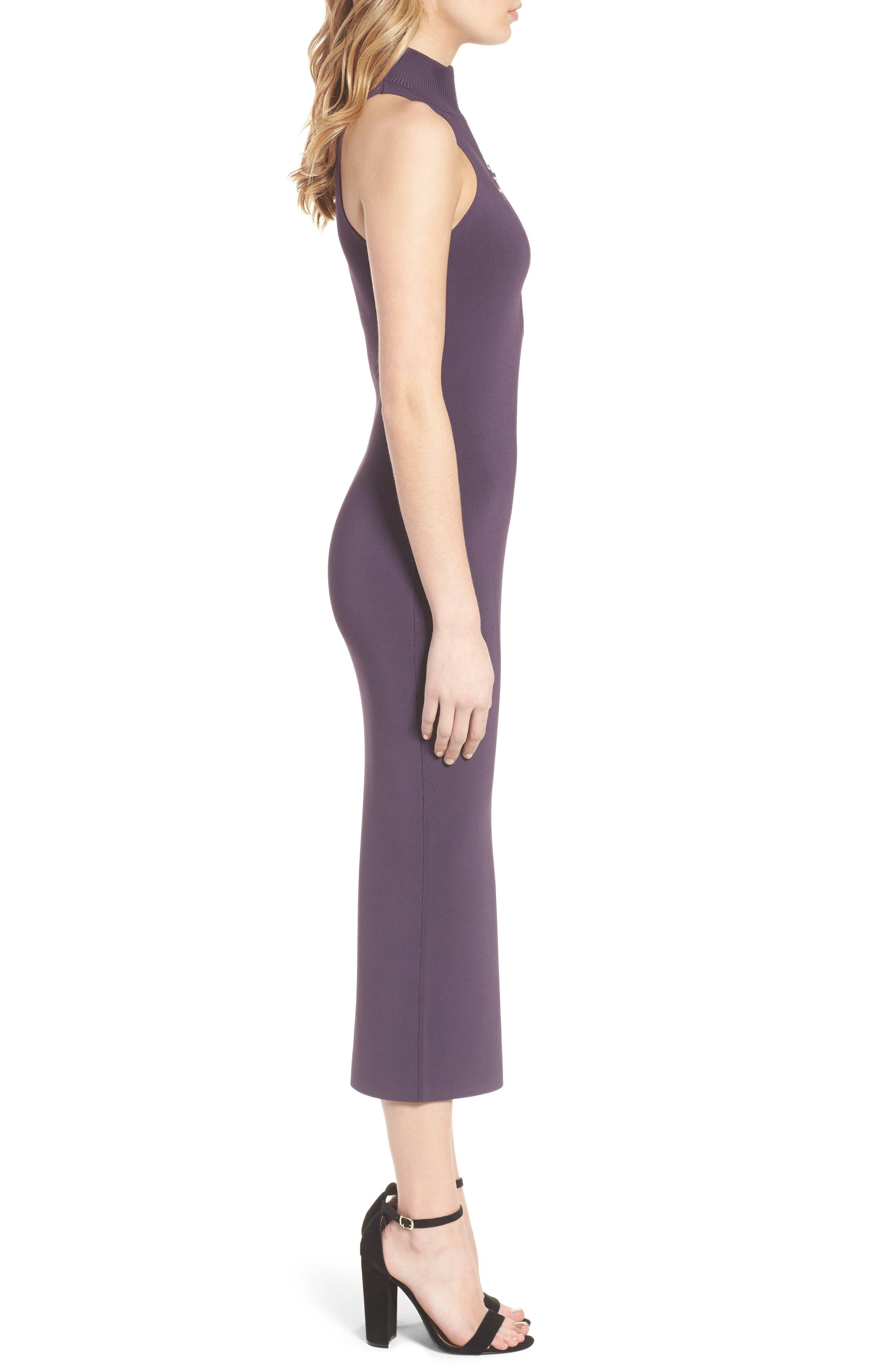 Sweater Knit Midi Dress,                             Alternate thumbnail 3, color,                             Purple Night