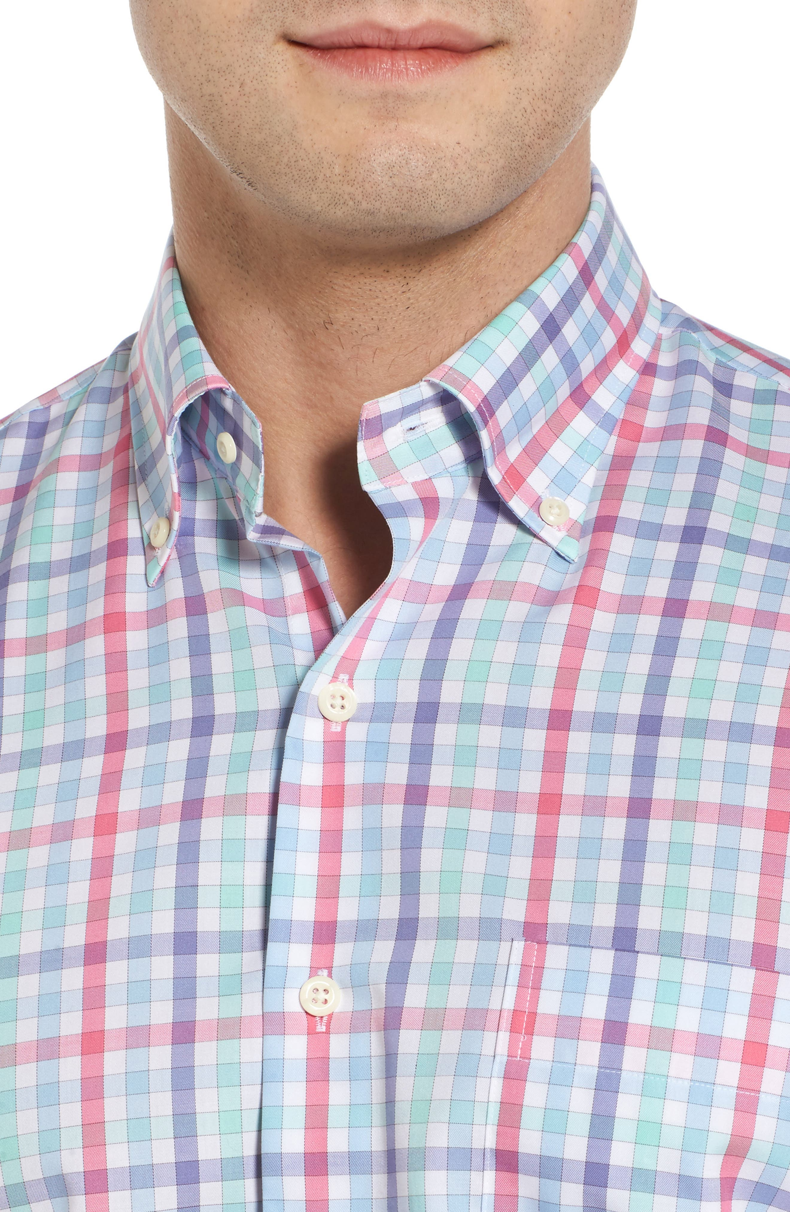Crown Ease Habanero Regular Fit Check Sport Shirt,                             Alternate thumbnail 2, color,                             Tar Heel Blue