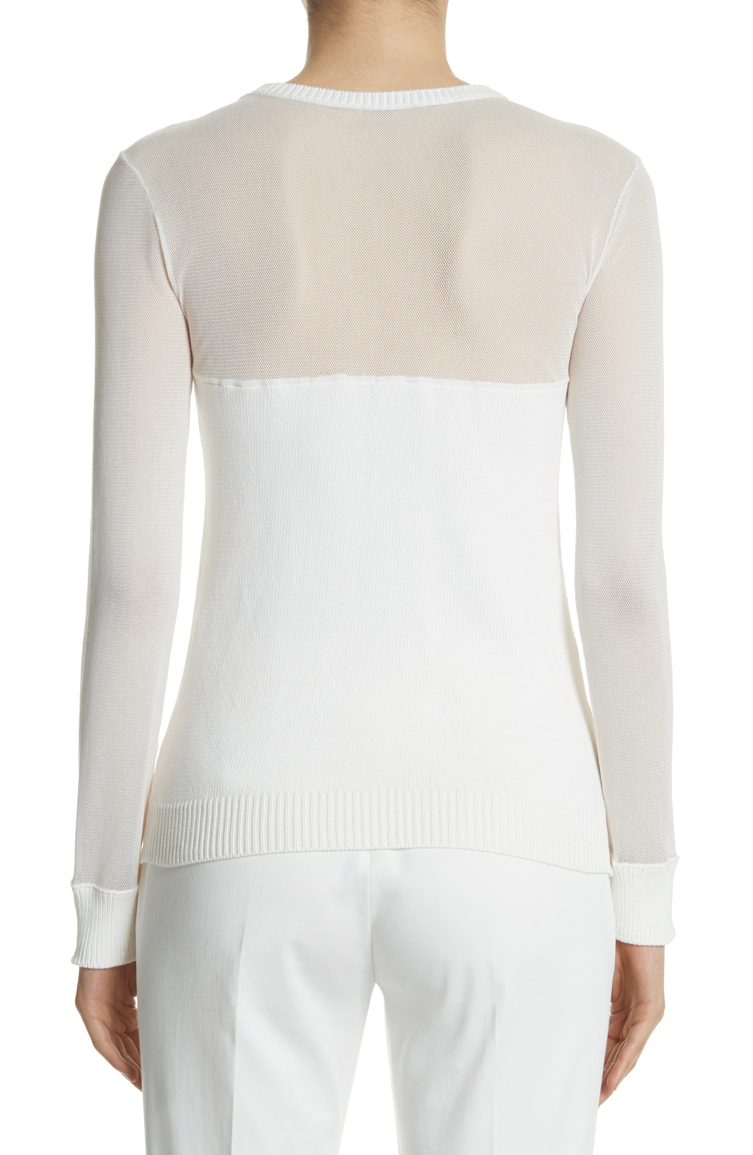 Cantore Mesh Yoke Sweater,                             Alternate thumbnail 2, color,                             Ivory