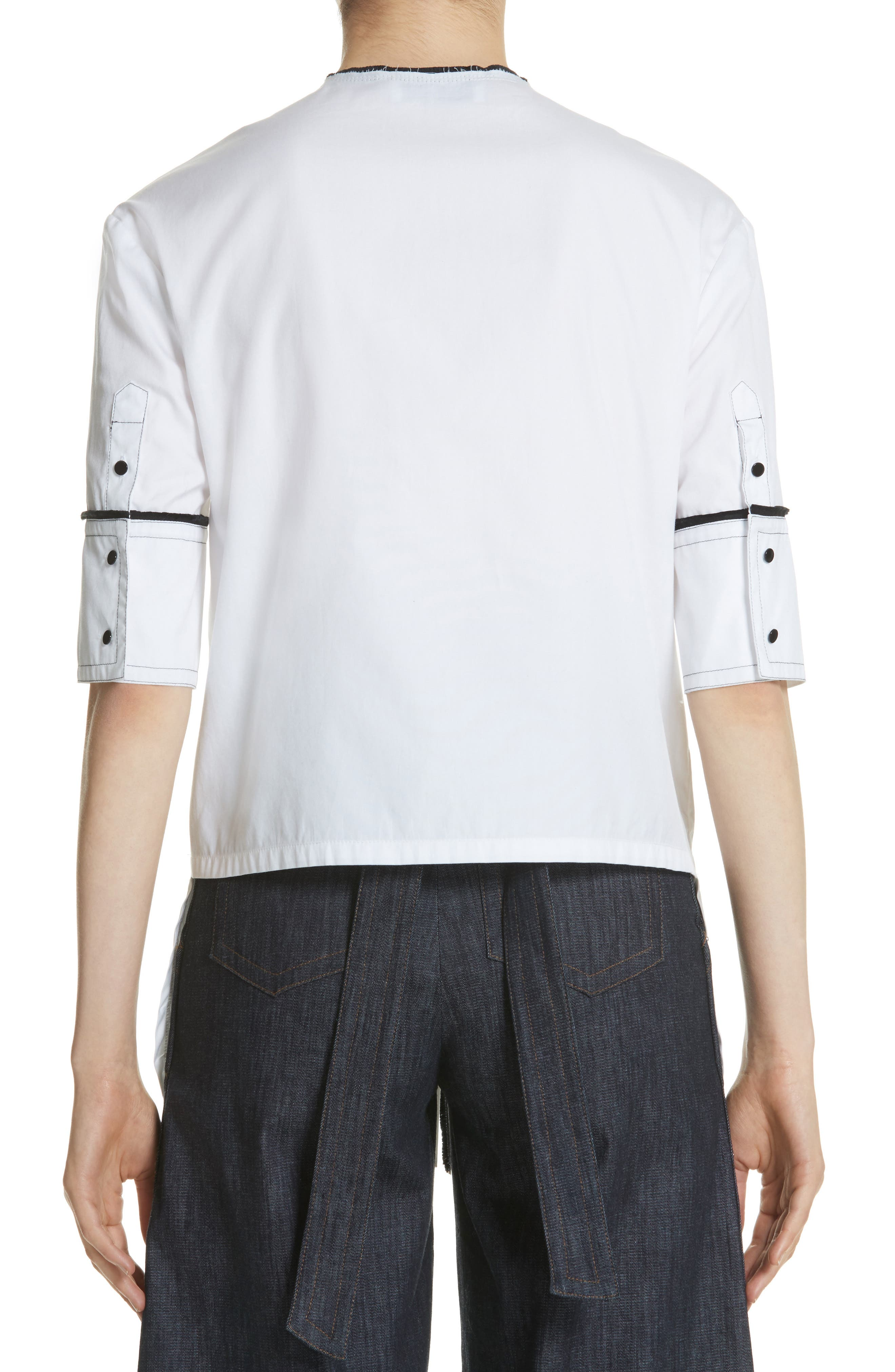 Crop Back Poplin Shirt,                             Alternate thumbnail 3, color,                             White