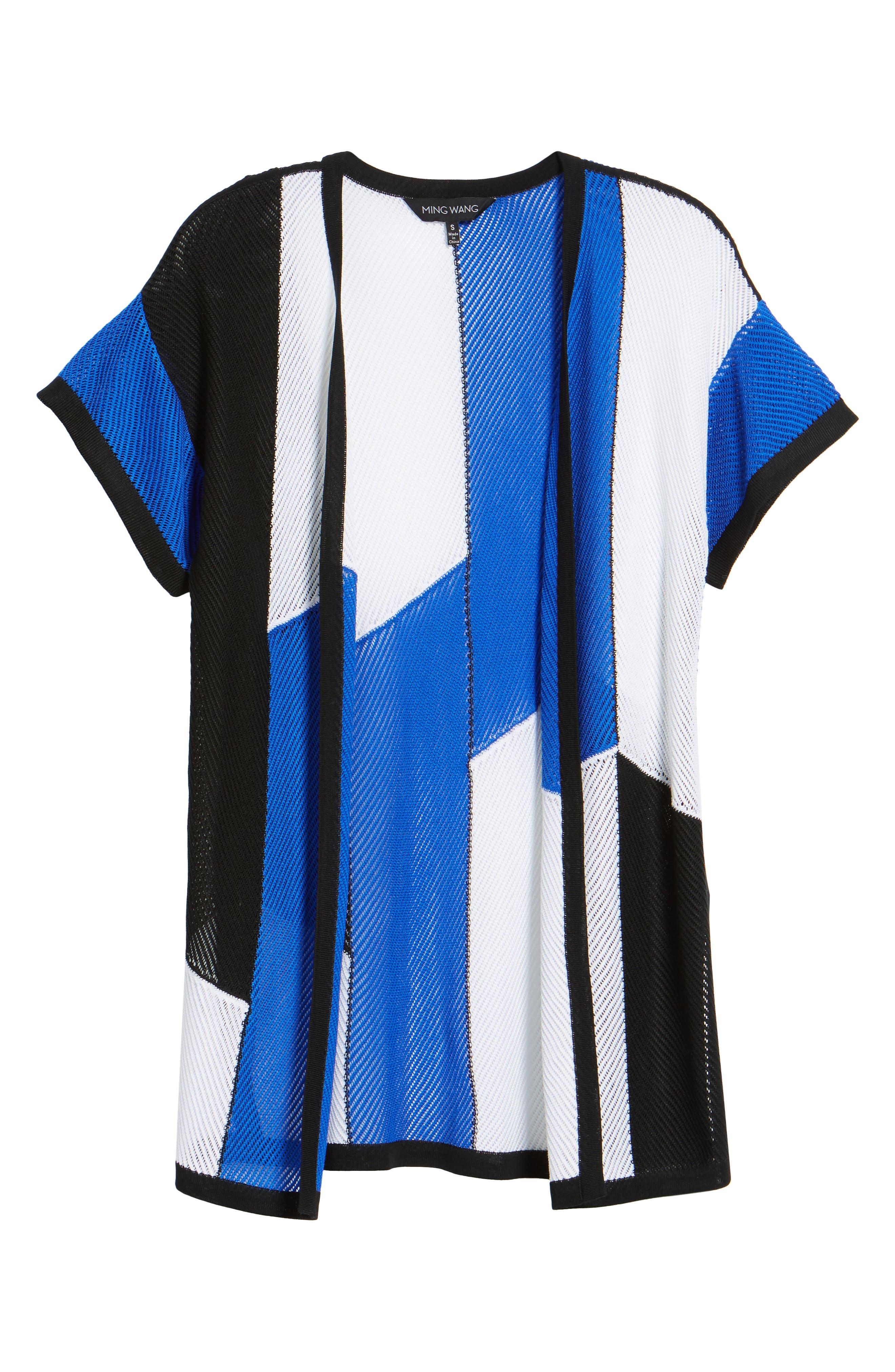 Colorblock Short Sleeve Cardigan,                             Alternate thumbnail 6, color,                             White/ Black/ Patriot Blue