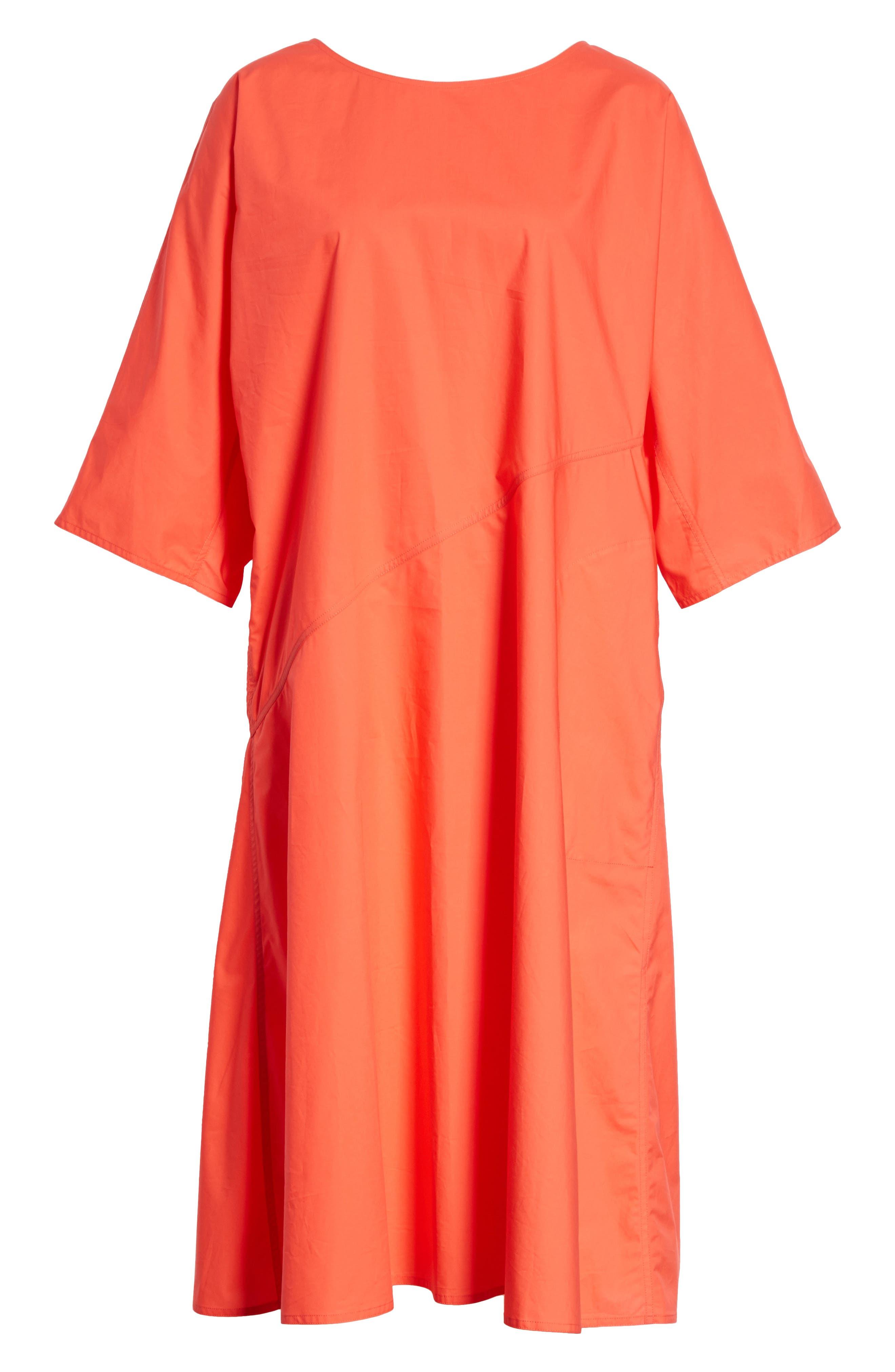 Diagonal Waist Dress,                             Alternate thumbnail 7, color,                             Poppy