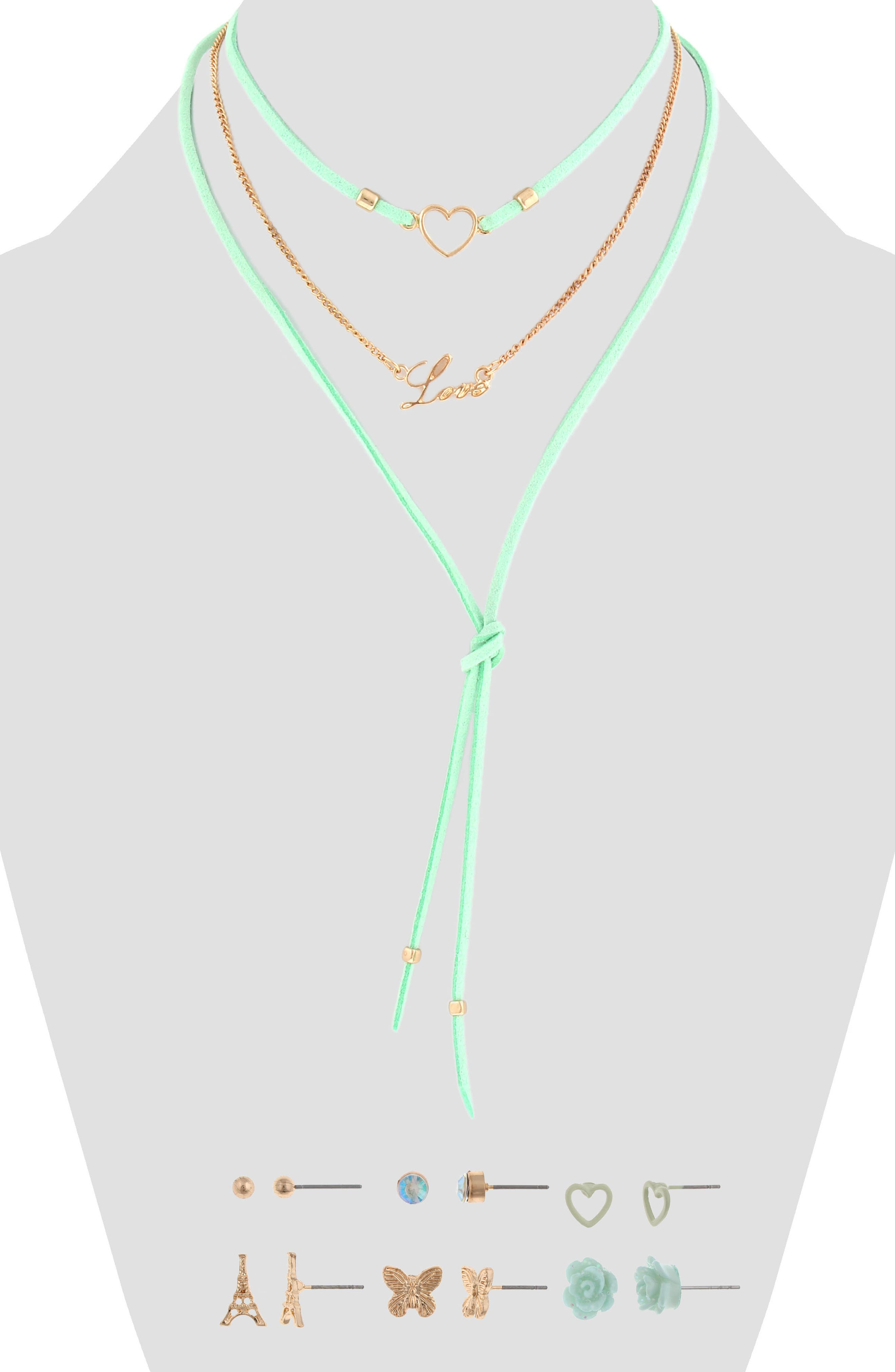 Alternate Image 1 Selected - Capelli New York 9-Piece Earring & Layered Necklace Set (Big Girls)