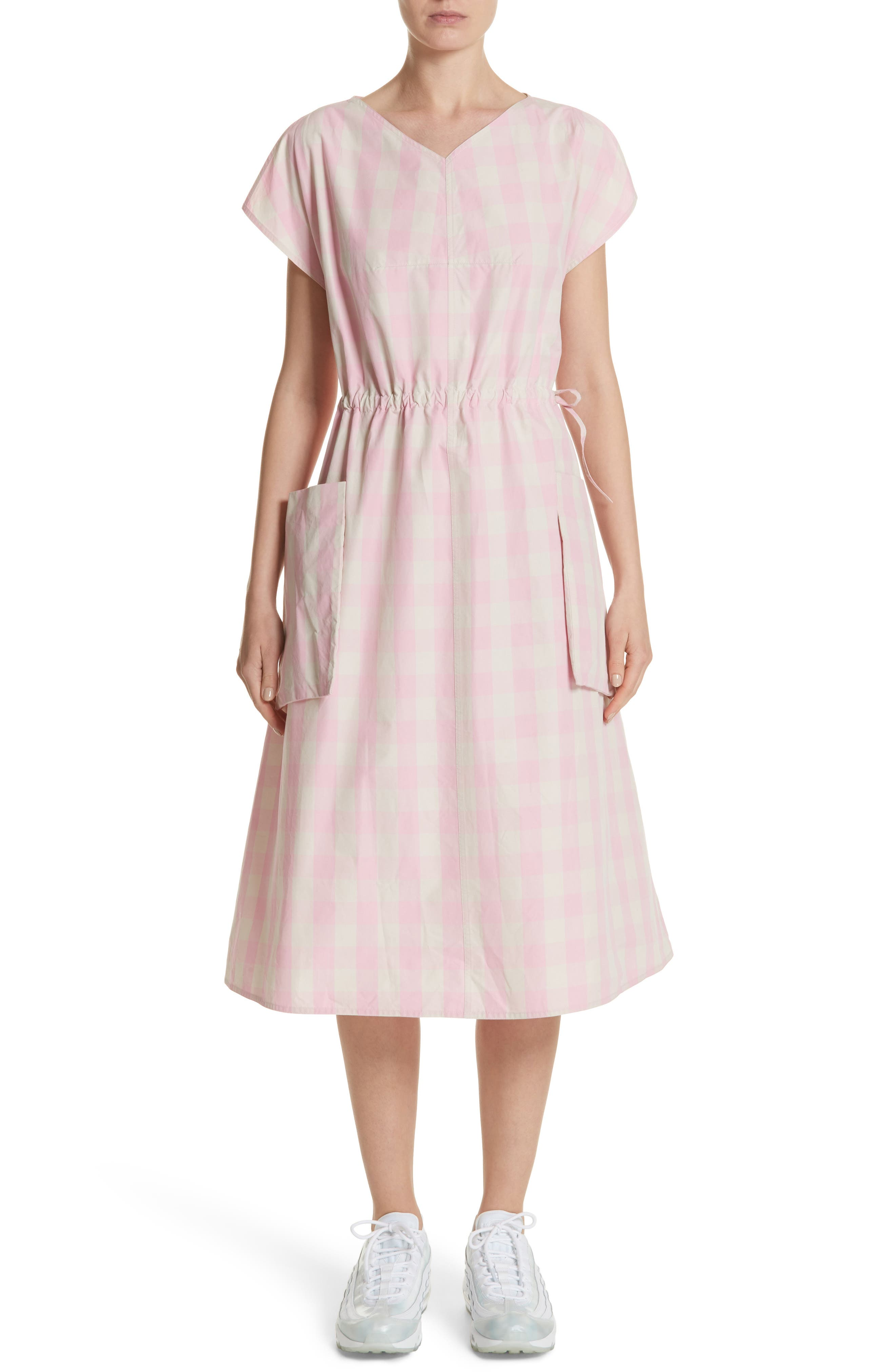 Gathered Waist Gingham Dress,                         Main,                         color, Rose/Cream