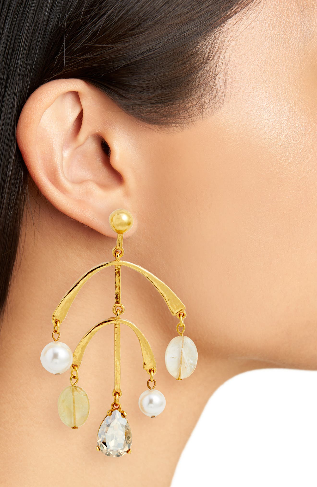 Mobile Drop Earring with Imitation Pearl,                             Alternate thumbnail 2, color,                             Cry Gold Shadow