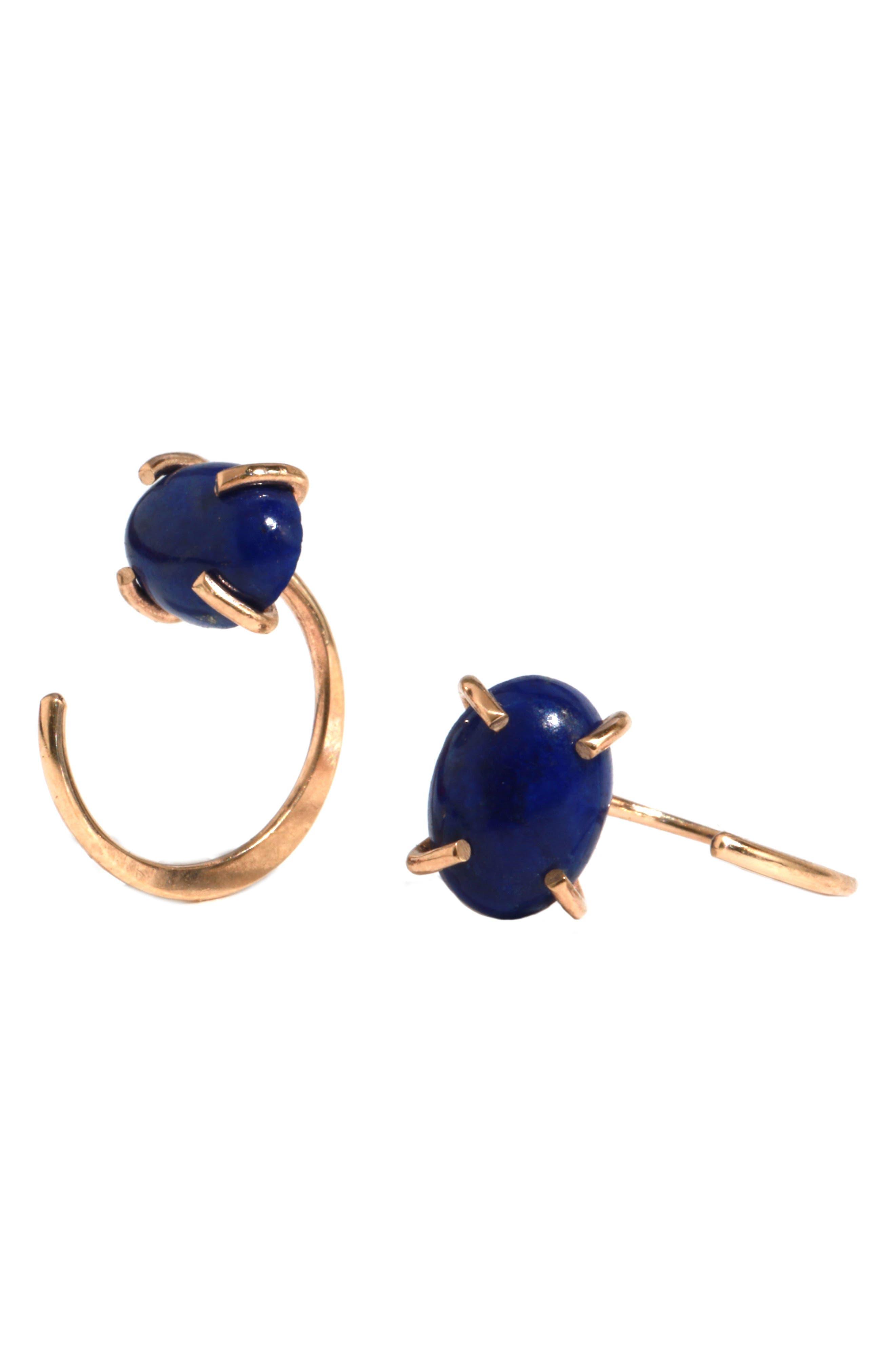 Lapis Lazuli Earrings,                         Main,                         color, Yellow Gold