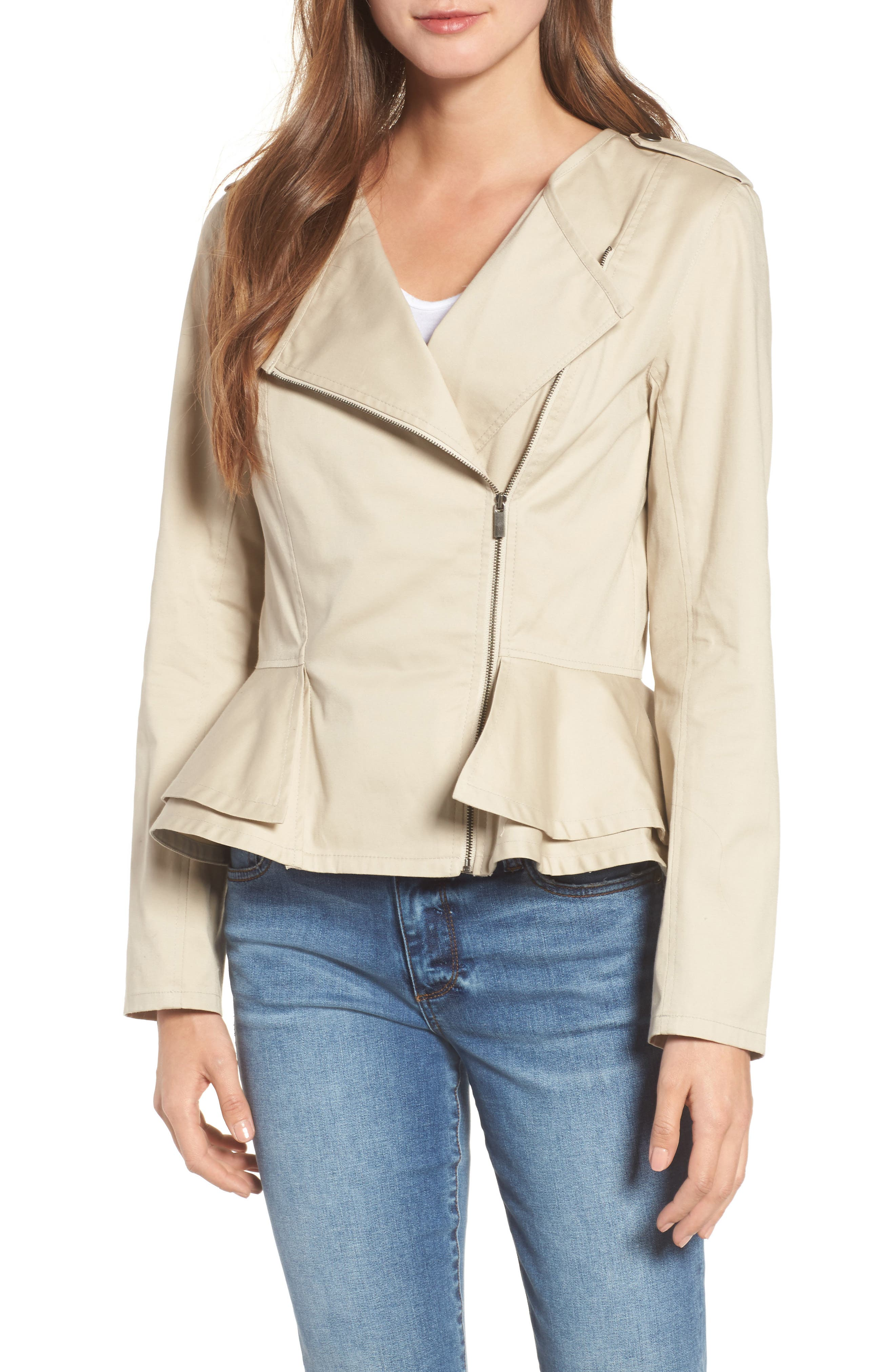 Asymmetrical Zip Peplum Jacket,                             Main thumbnail 1, color,                             Tan Oxford