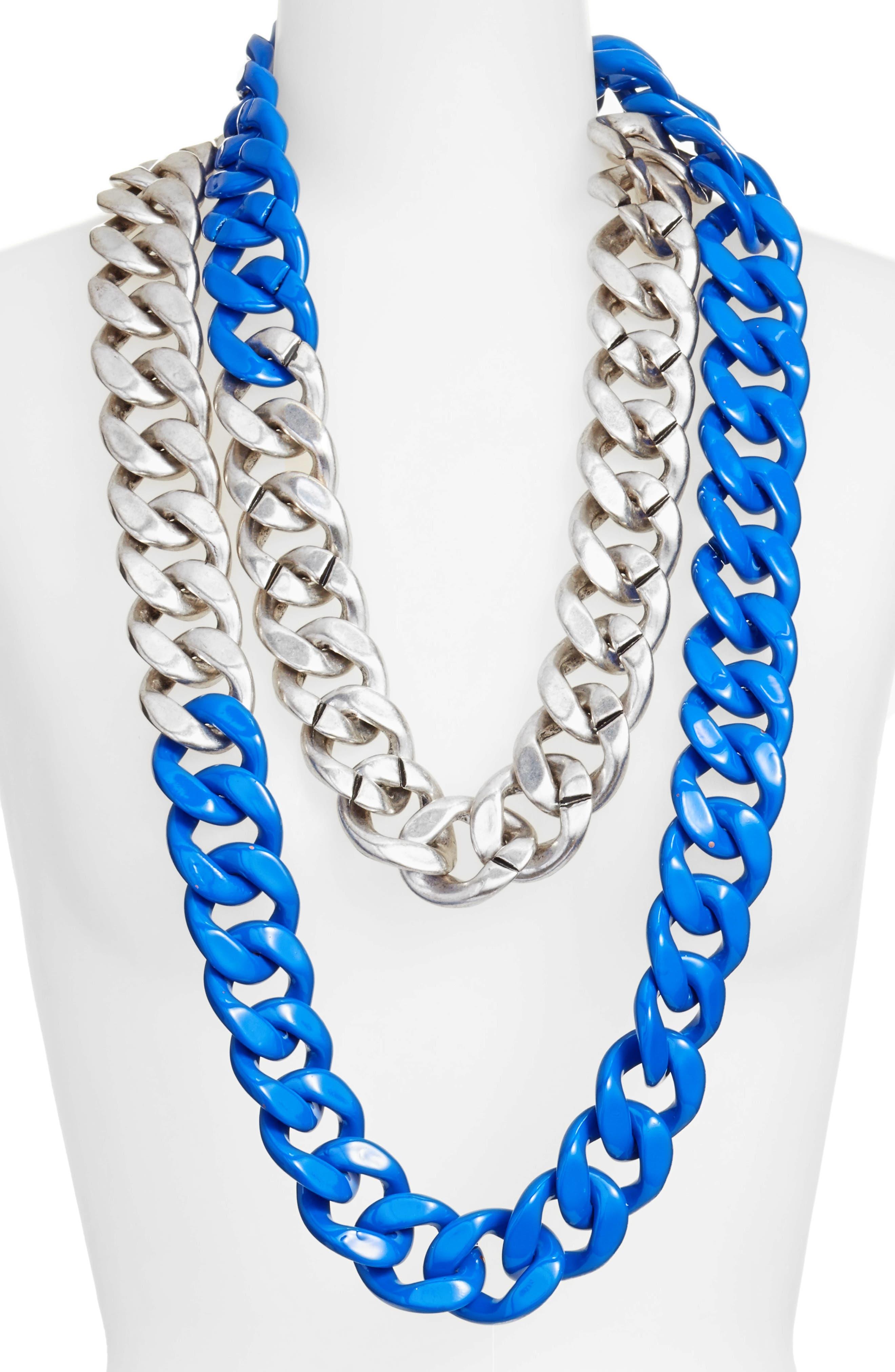 Colorblock Link Necklace,                         Main,                         color, Silver/ Blue