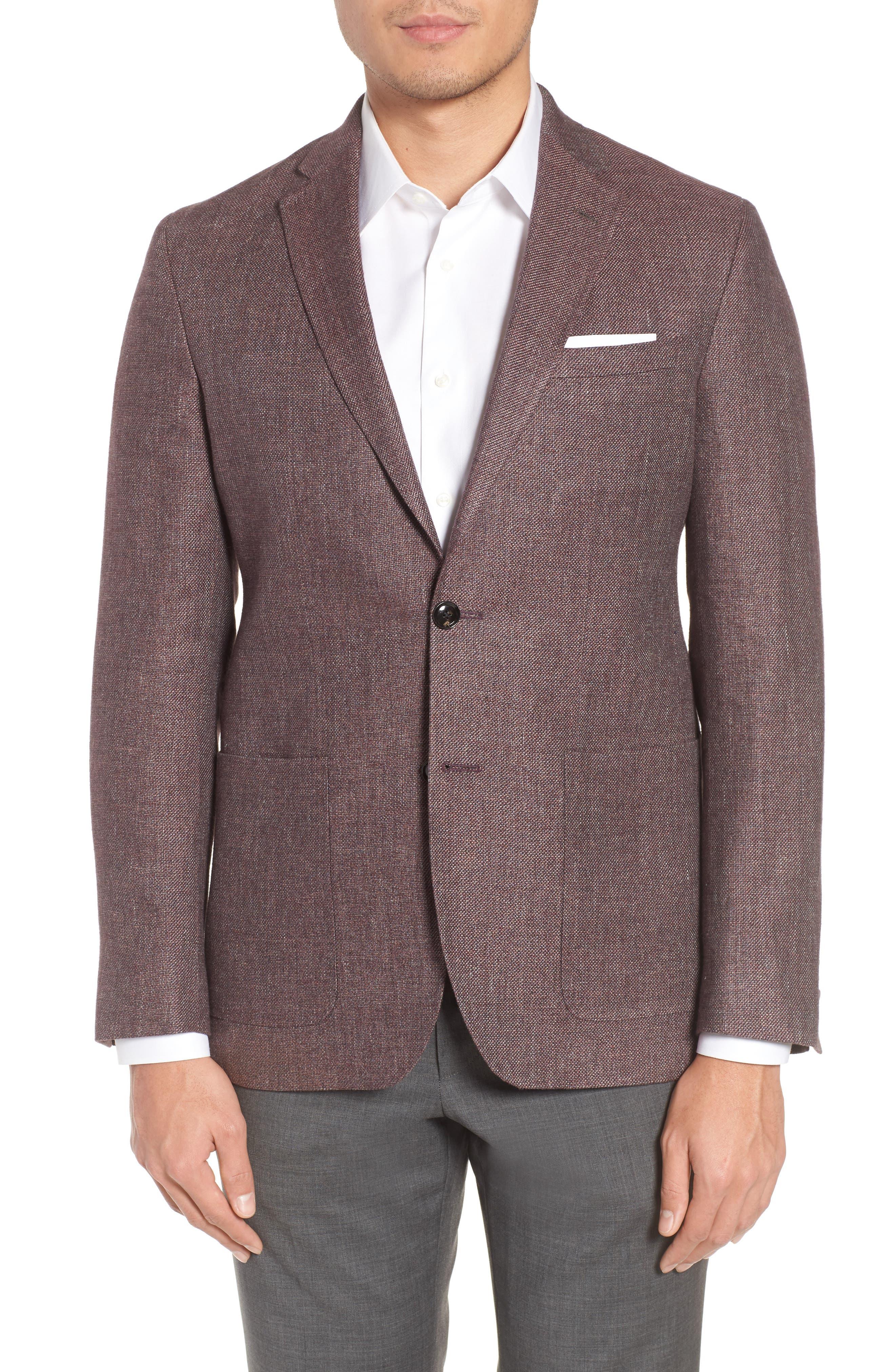 Kyle Trim Fit Linen & Wool Blazer,                         Main,                         color, Light Brick