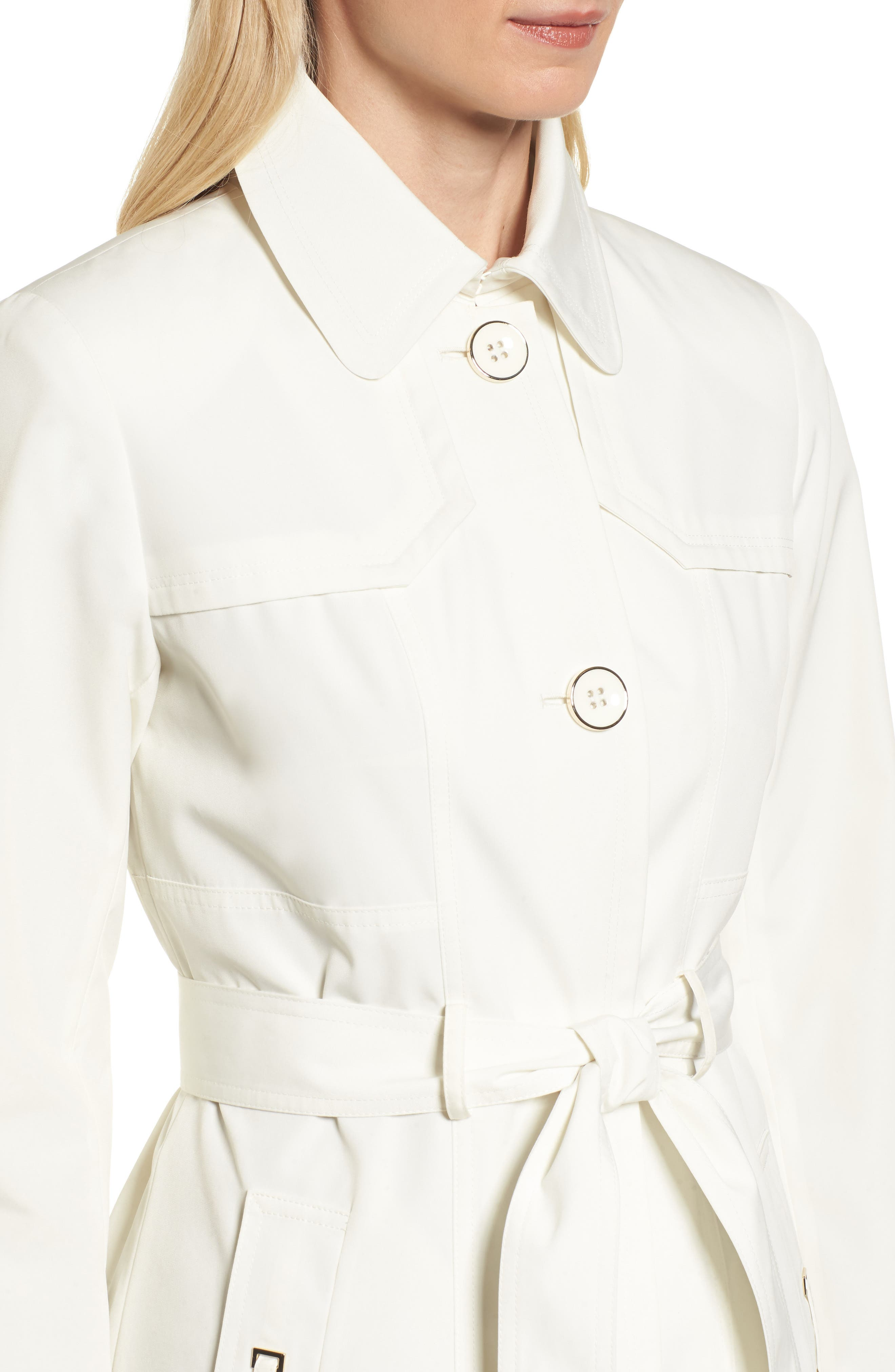 Belted Trench Raincoat,                             Alternate thumbnail 4, color,                             Vanilla