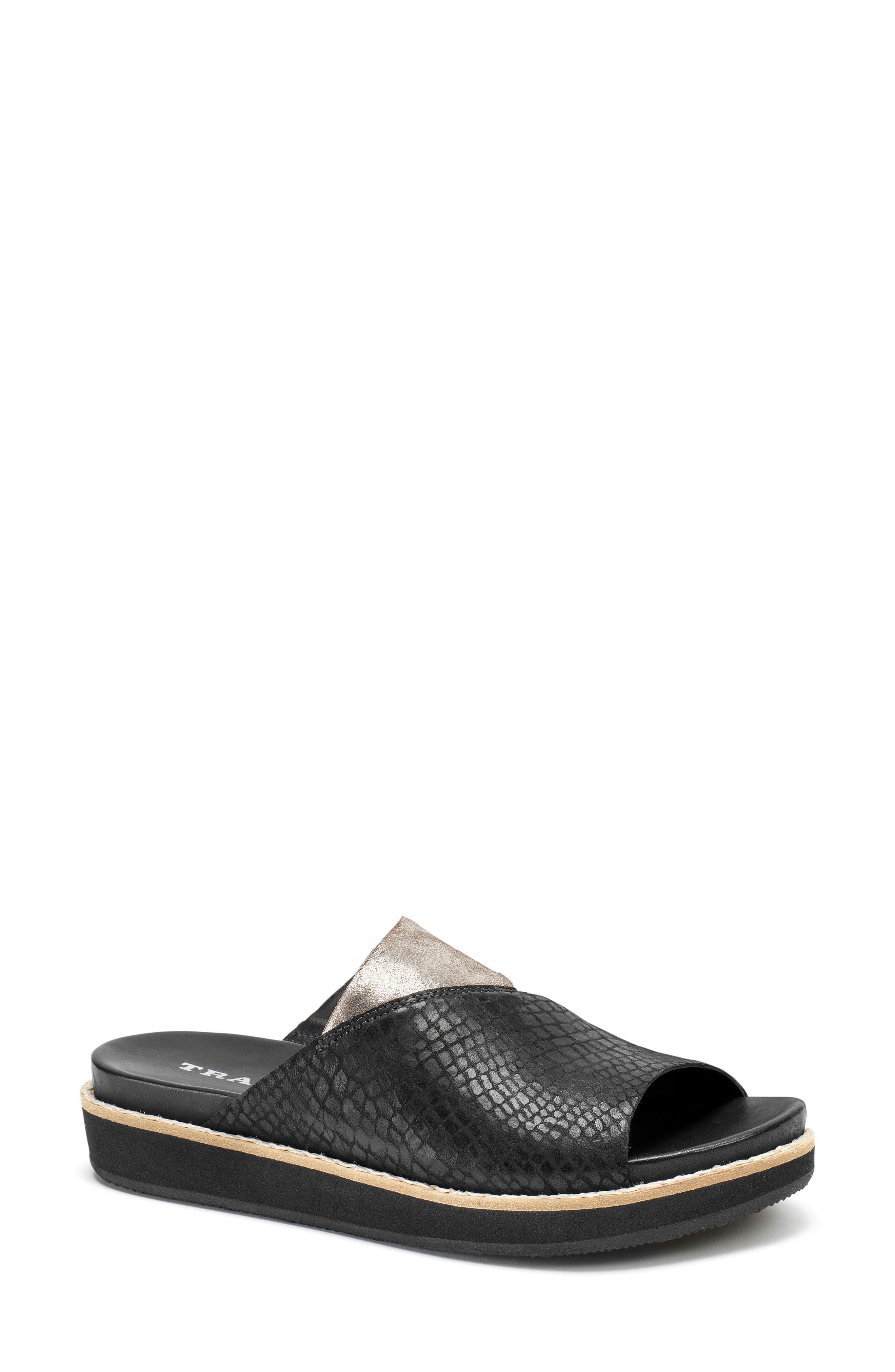 Codi Sandal,                         Main,                         color, Black Embossed Leather
