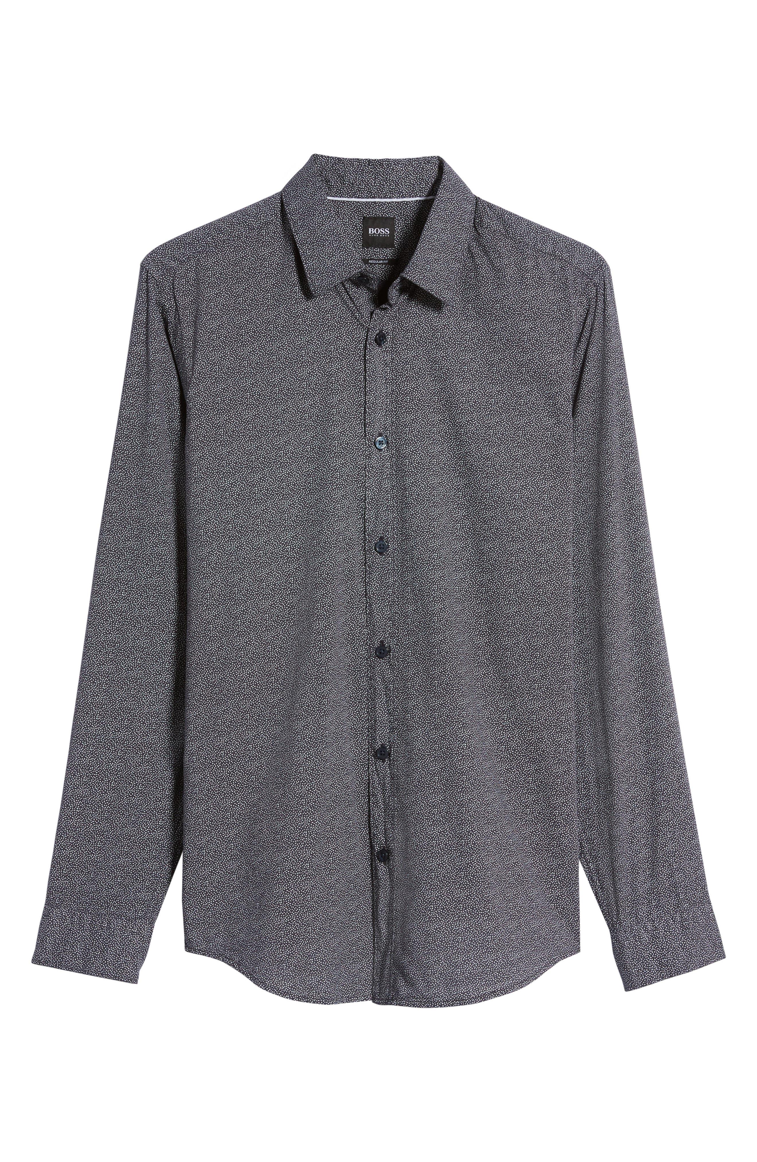 Lukas Regular Fit Print Sport Shirt,                             Alternate thumbnail 6, color,                             Blue