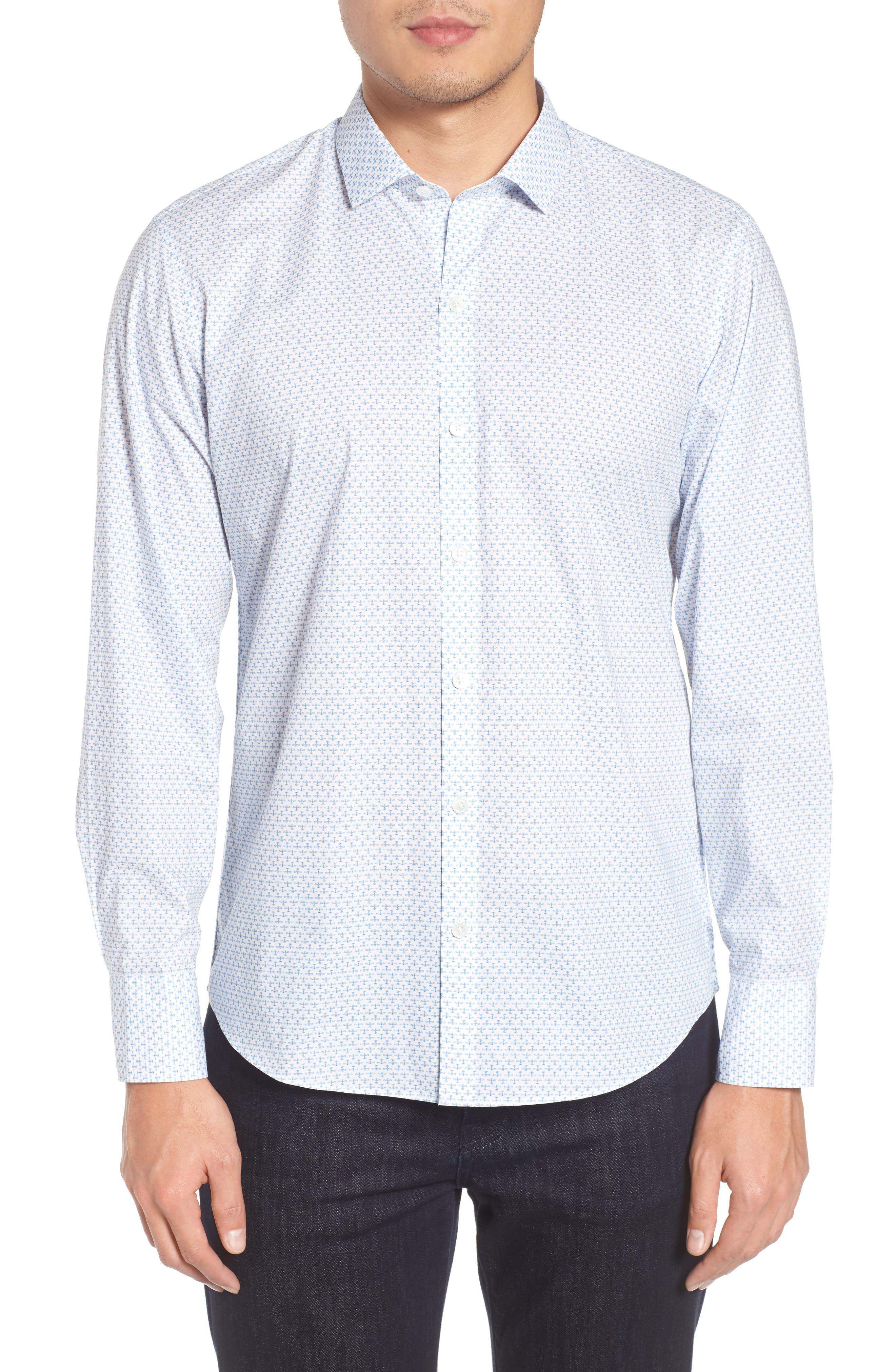 Korey Airplane Print Sport Shirt,                         Main,                         color, White