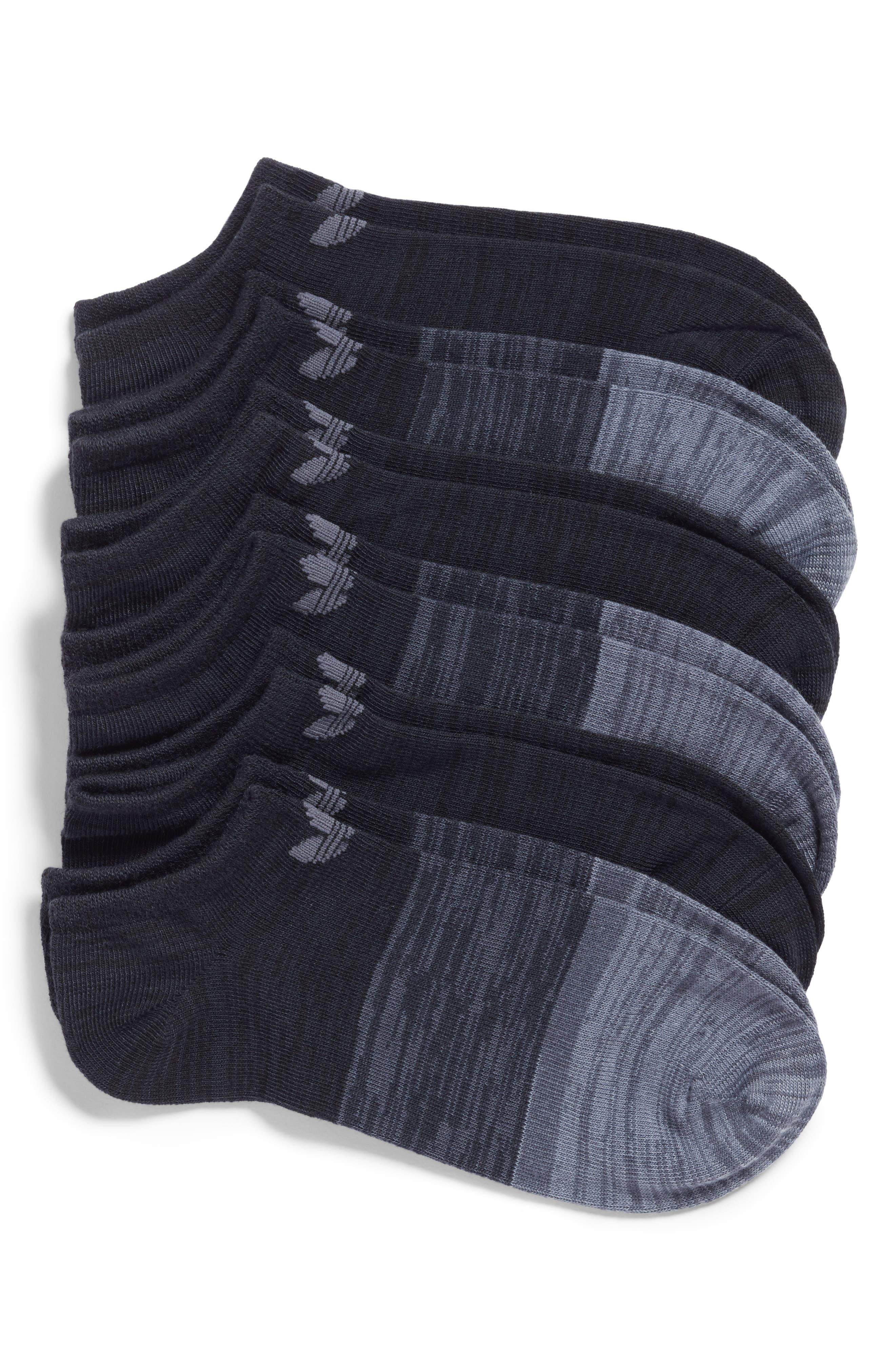 Block Space Dye 6-Pack No-Show Socks,                             Main thumbnail 1, color,                             Black