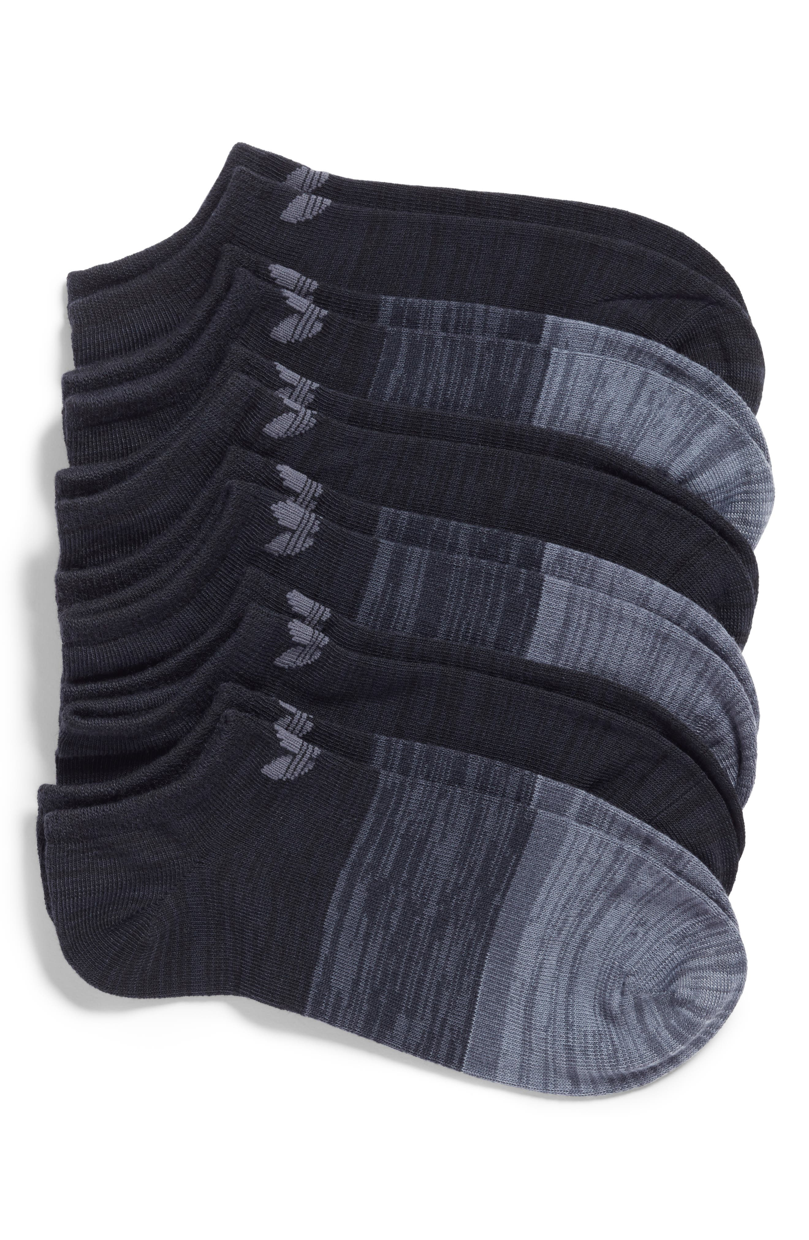 Main Image - adidas Block Space Dye 6-Pack No-Show Socks