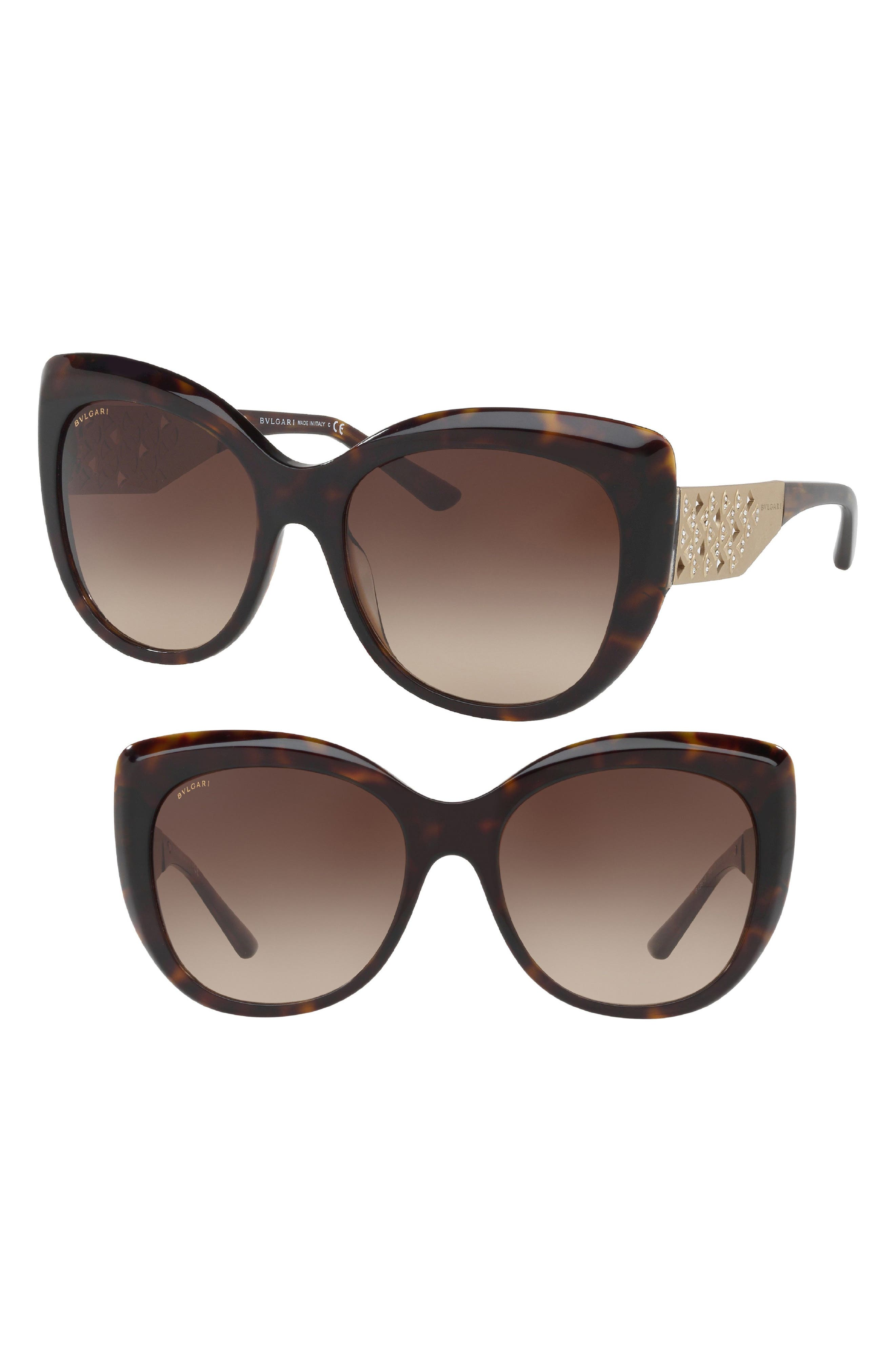 BVLGARI 57mm Cat Eye Gradient Lens Sunglasses