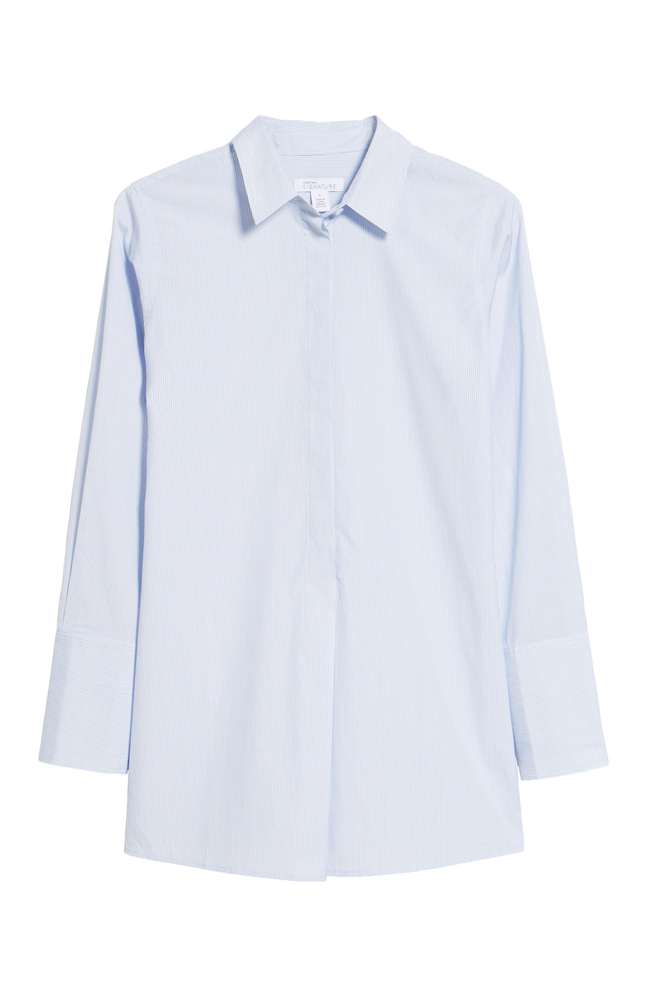 Popover Poplin Shirt,                             Alternate thumbnail 6, color,                             Blue- White Stripe