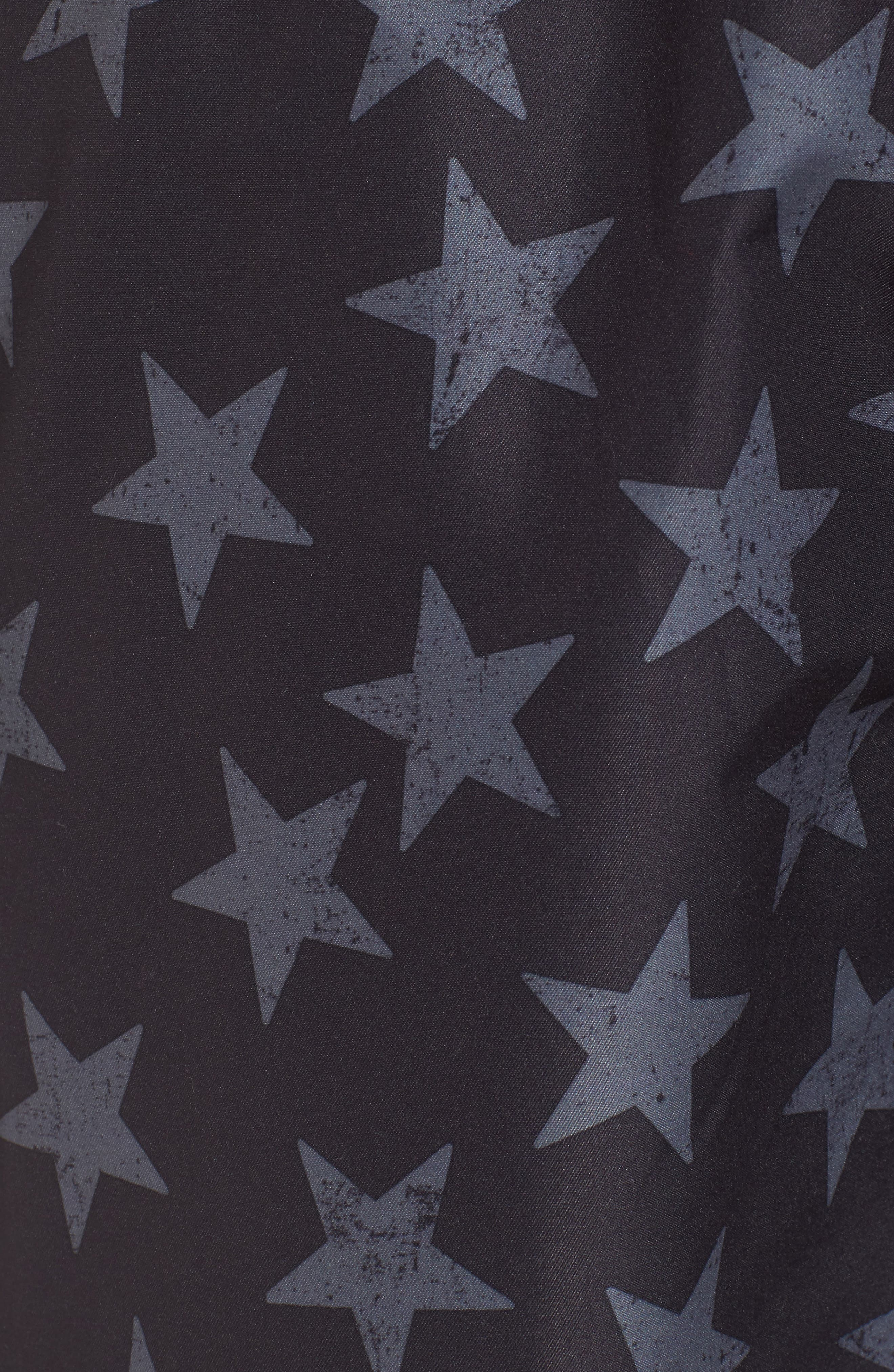 San O Stars Swim Trunks,                             Alternate thumbnail 5, color,                             Black/ Steel Grey