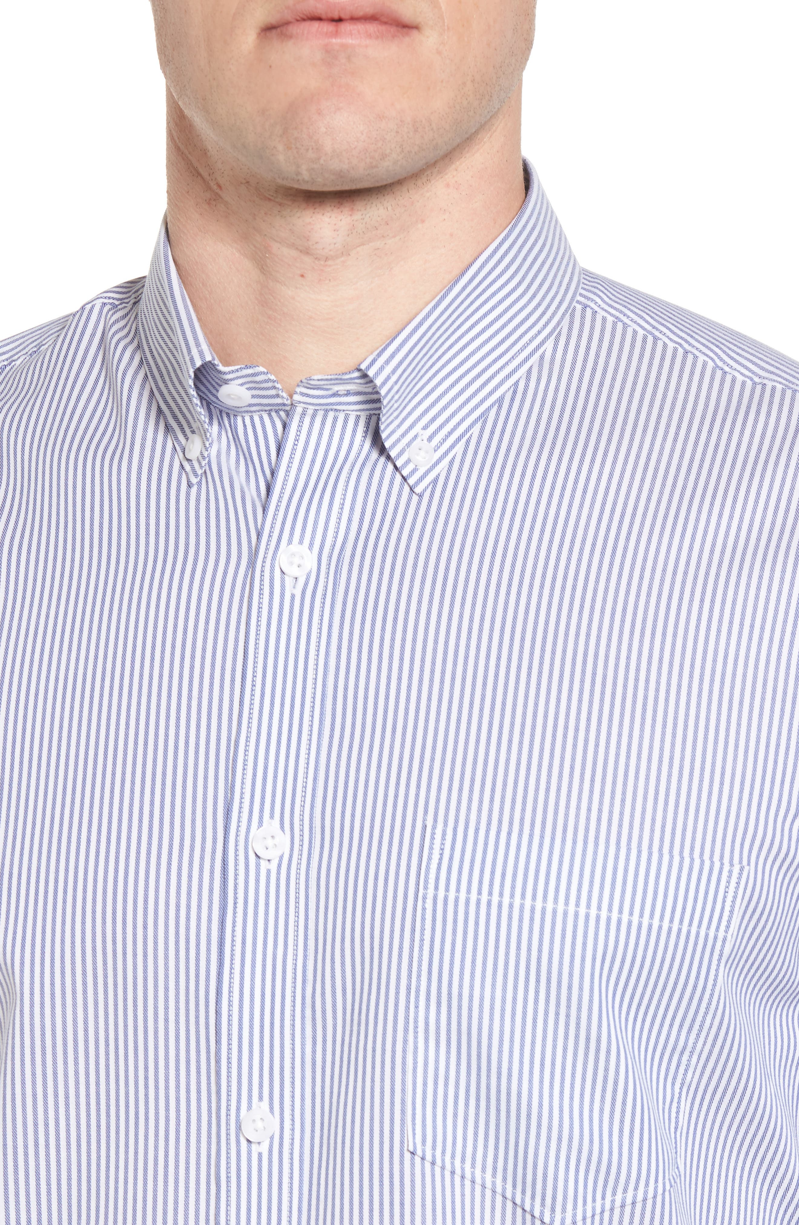 Tech-Smart Regular Fit Stripe Sport Shirt,                             Alternate thumbnail 2, color,                             Navy Iris White Stripe