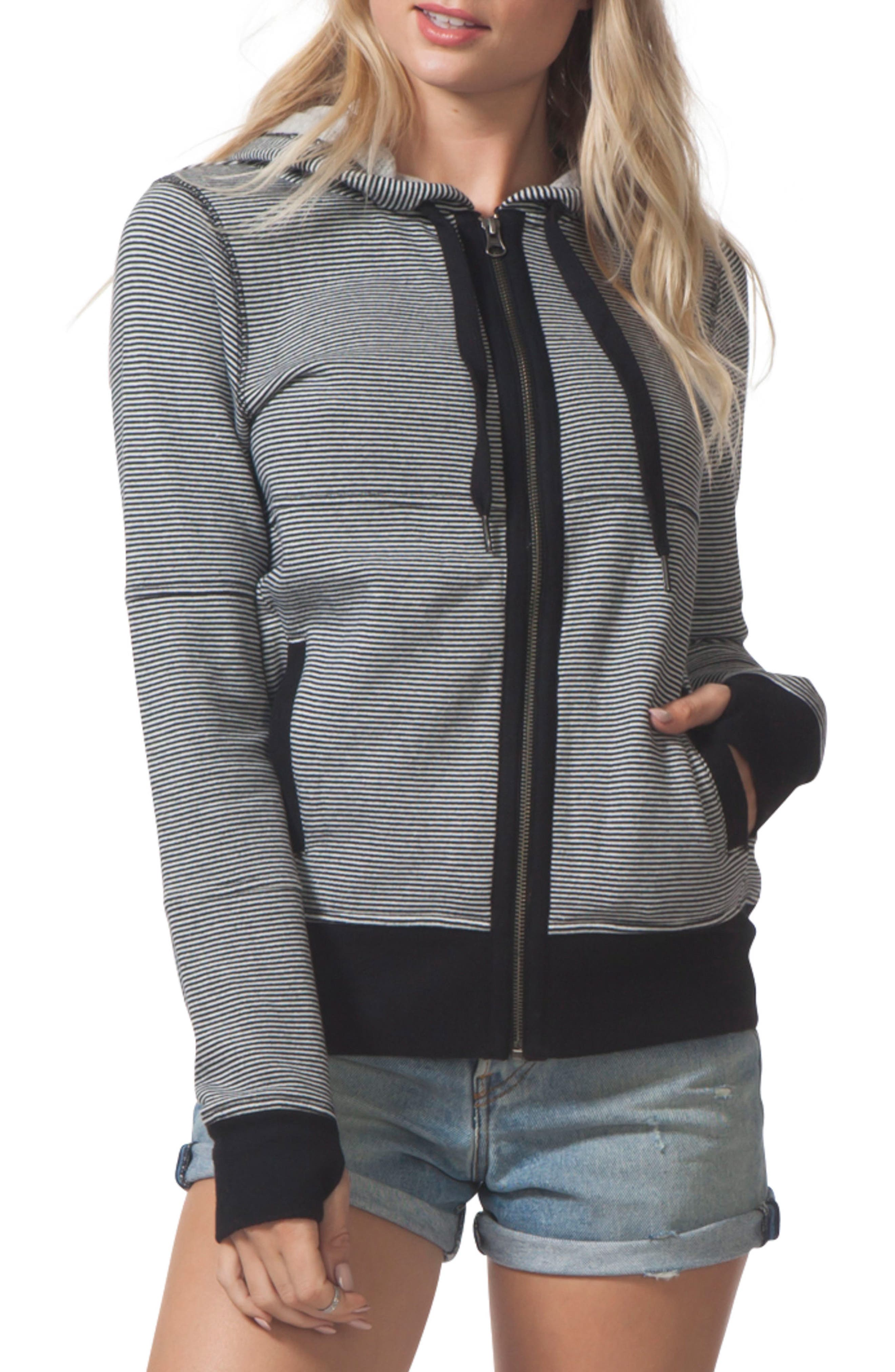 Surf Threads Hoodie,                         Main,                         color, Black/ White