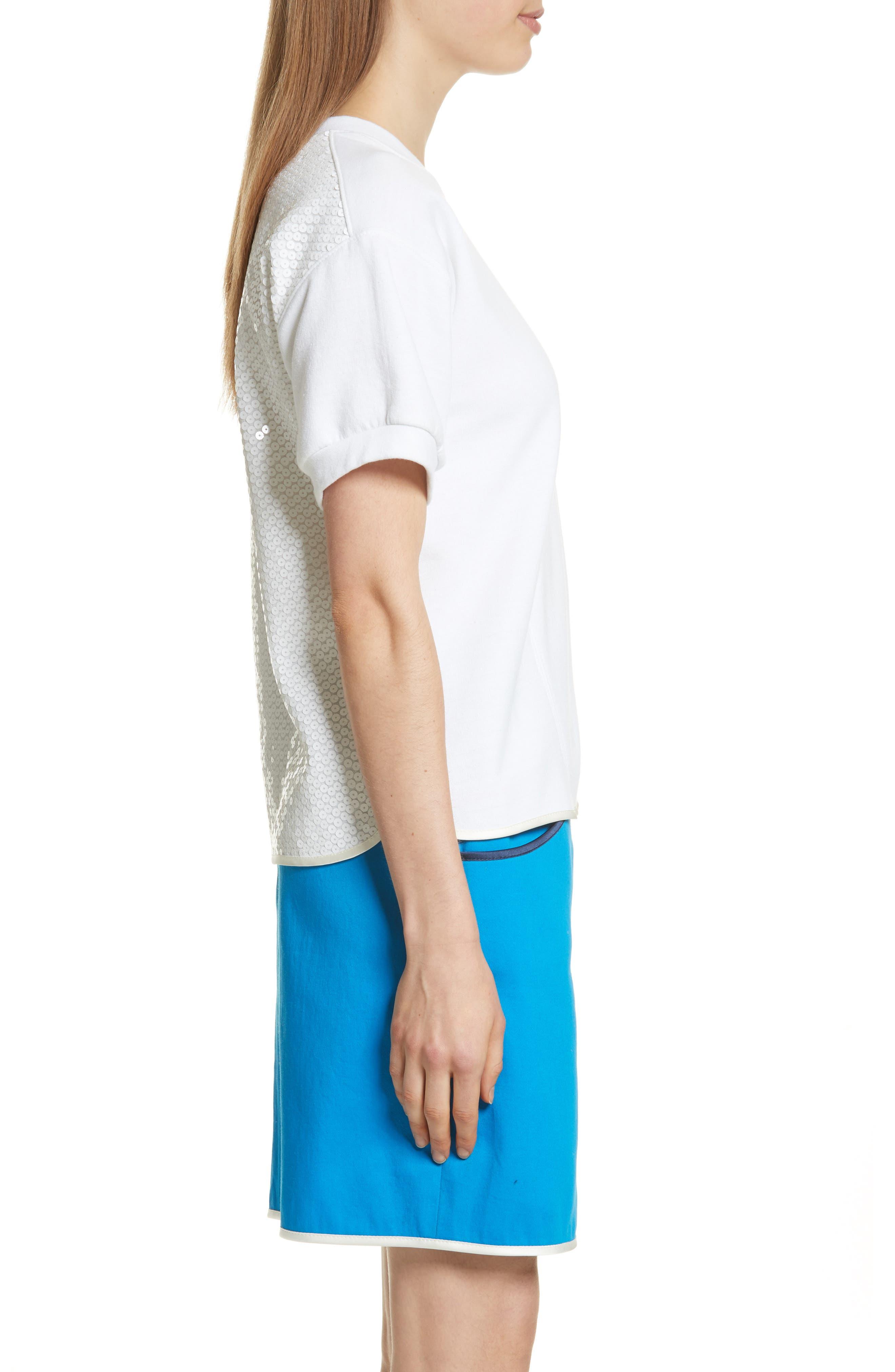 Sequin Back Sweatshirt,                             Alternate thumbnail 3, color,                             White