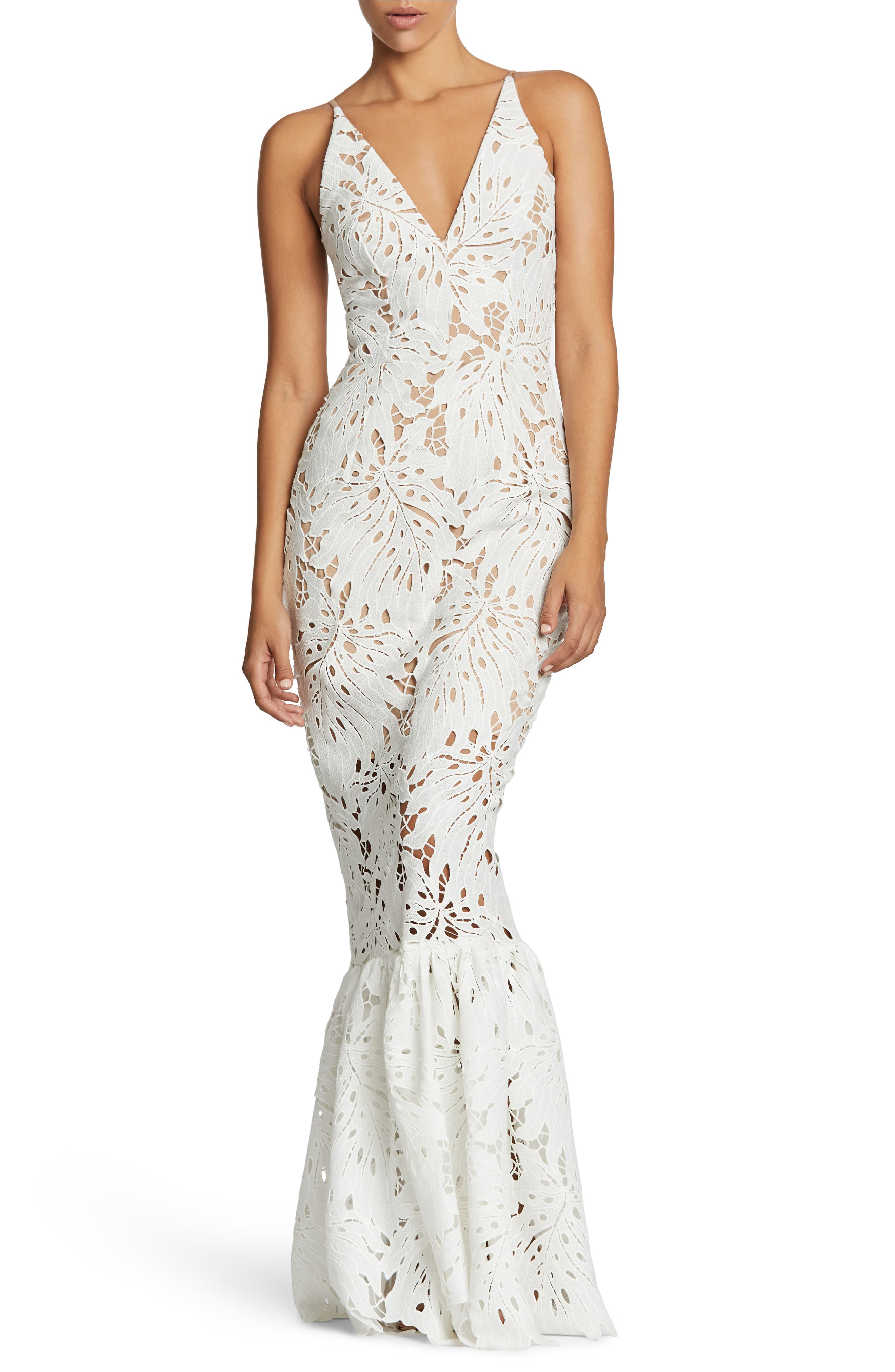 Brooke Crochet Palm Mermaid Gown,                         Main,                         color, White