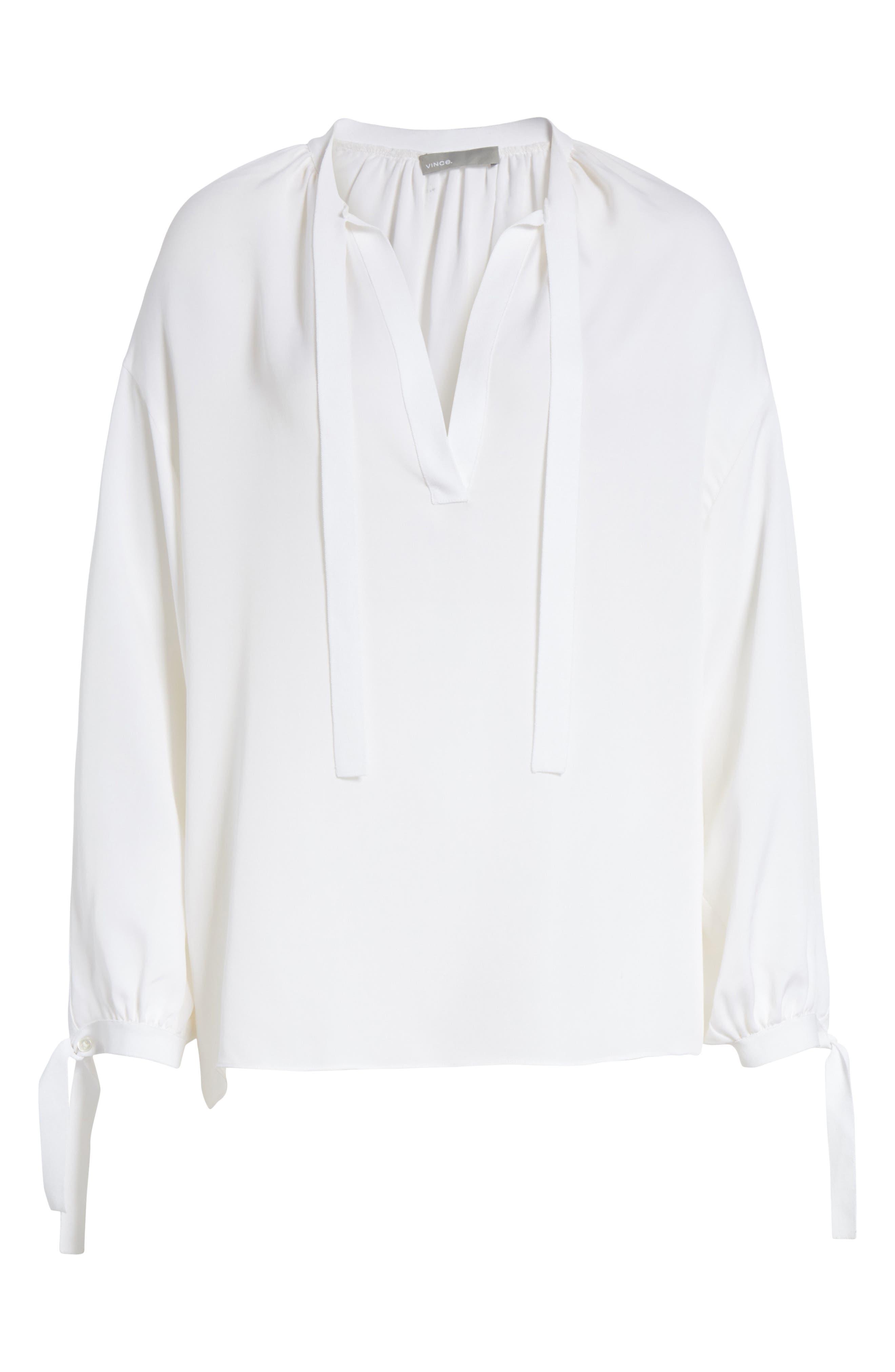 Tie Detail Silk Poet Blouse,                             Alternate thumbnail 6, color,                             Optic White