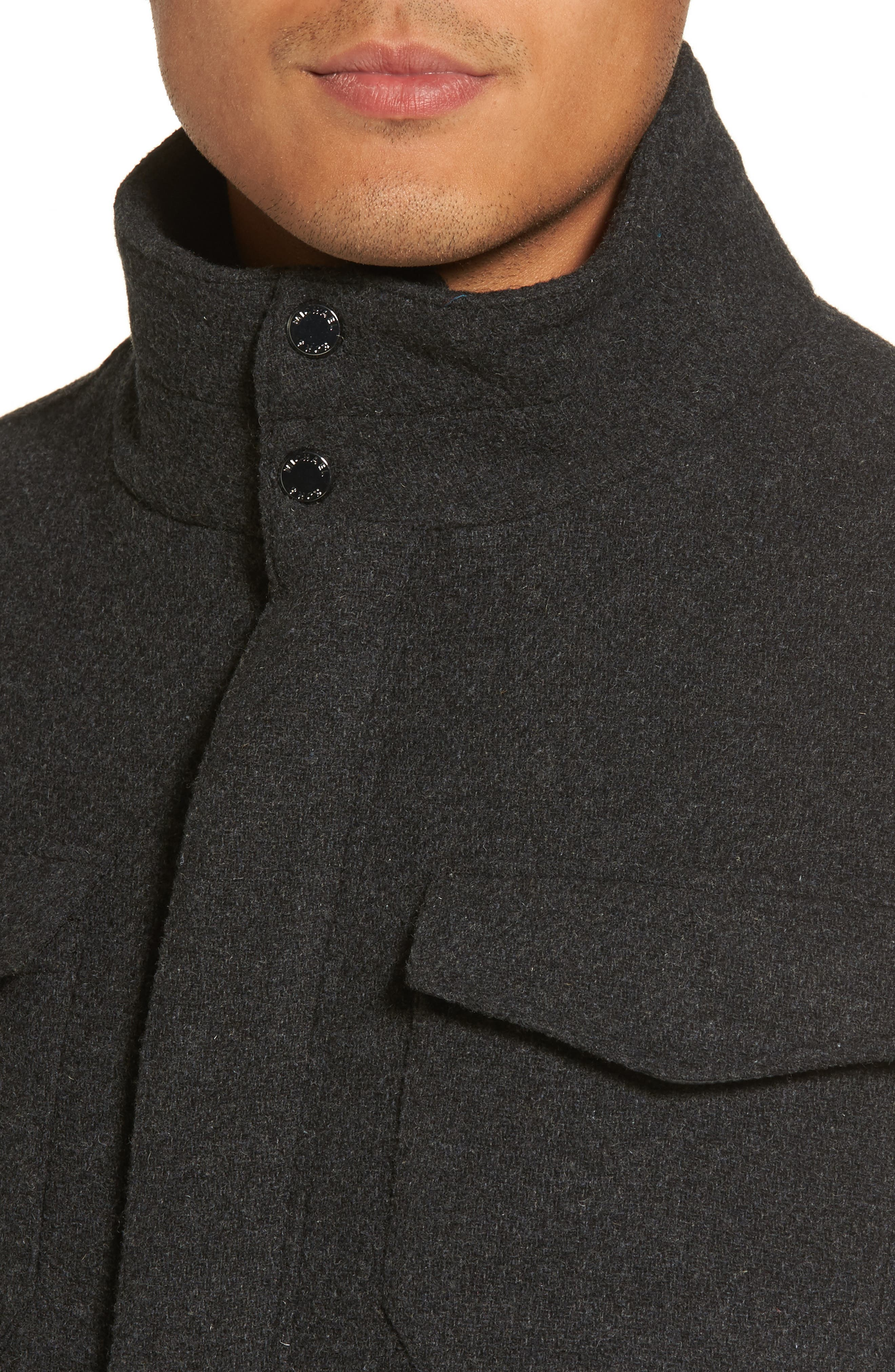 Regular Fit Double Layer Field Jacket,                             Alternate thumbnail 4, color,                             Charcoal/ Black