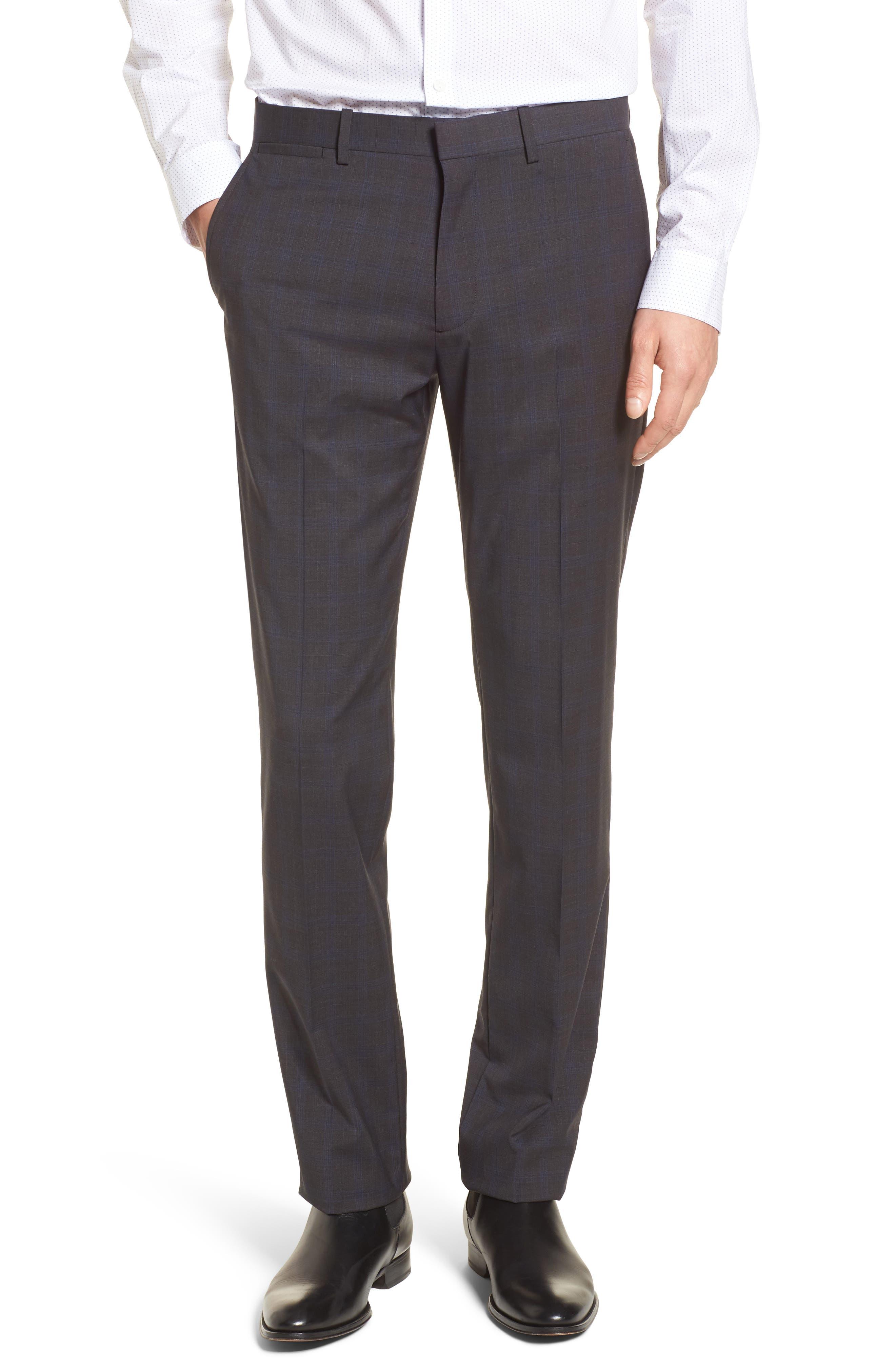 Marlo Trim Fit Tonal Plaid Trousers,                         Main,                         color, Charcoal Multi